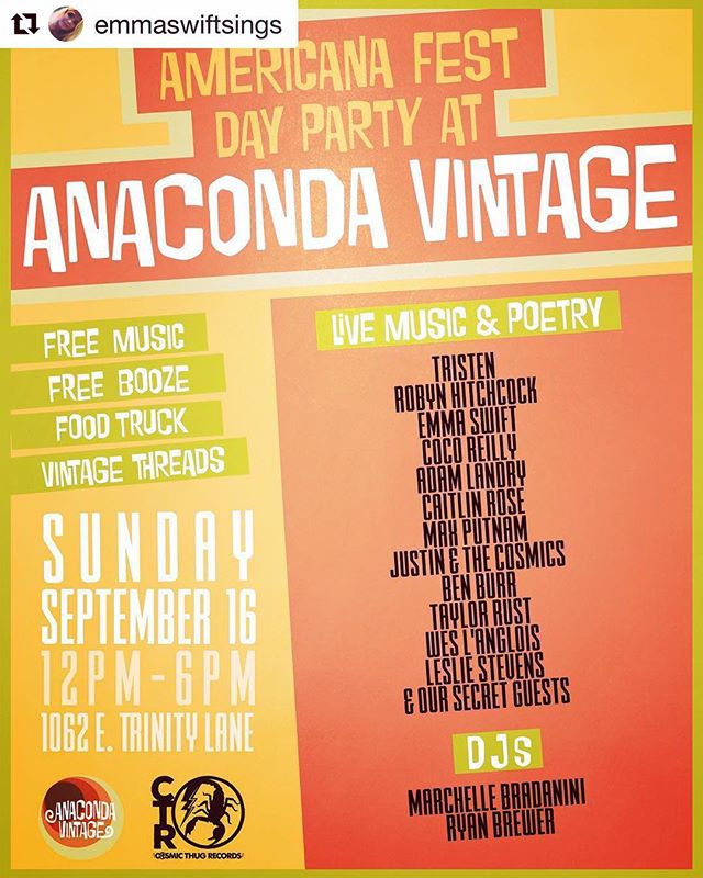 We're throwing a pretty rad AmericanaFest come down party at Anaconda Vintage on Sunday September 16. *I'll be playing some new tunes along w DJ duties. FREE BOOZE! FOOD TRUCK! VINTAGE DISCOUNTS FOR LAMINATE HOLDERS! 12pm - 6pm. Come join us. Featuring performances from:  @tristentristen @robynhitchcockofficial @coco.reilly @hanginoutinmybody @mscaitlinrose @maxwell_putnam @benburr_donethat @t__rust. @emmaswiftsings @scorpionfader @lesliestevenssss @ryanjamesbrewer & @marchelle_bradanini @cosmicthugrecords 💕💫🍺 #americanafest #nashville #eastnashville #freebeer #shoplocal #vintage
