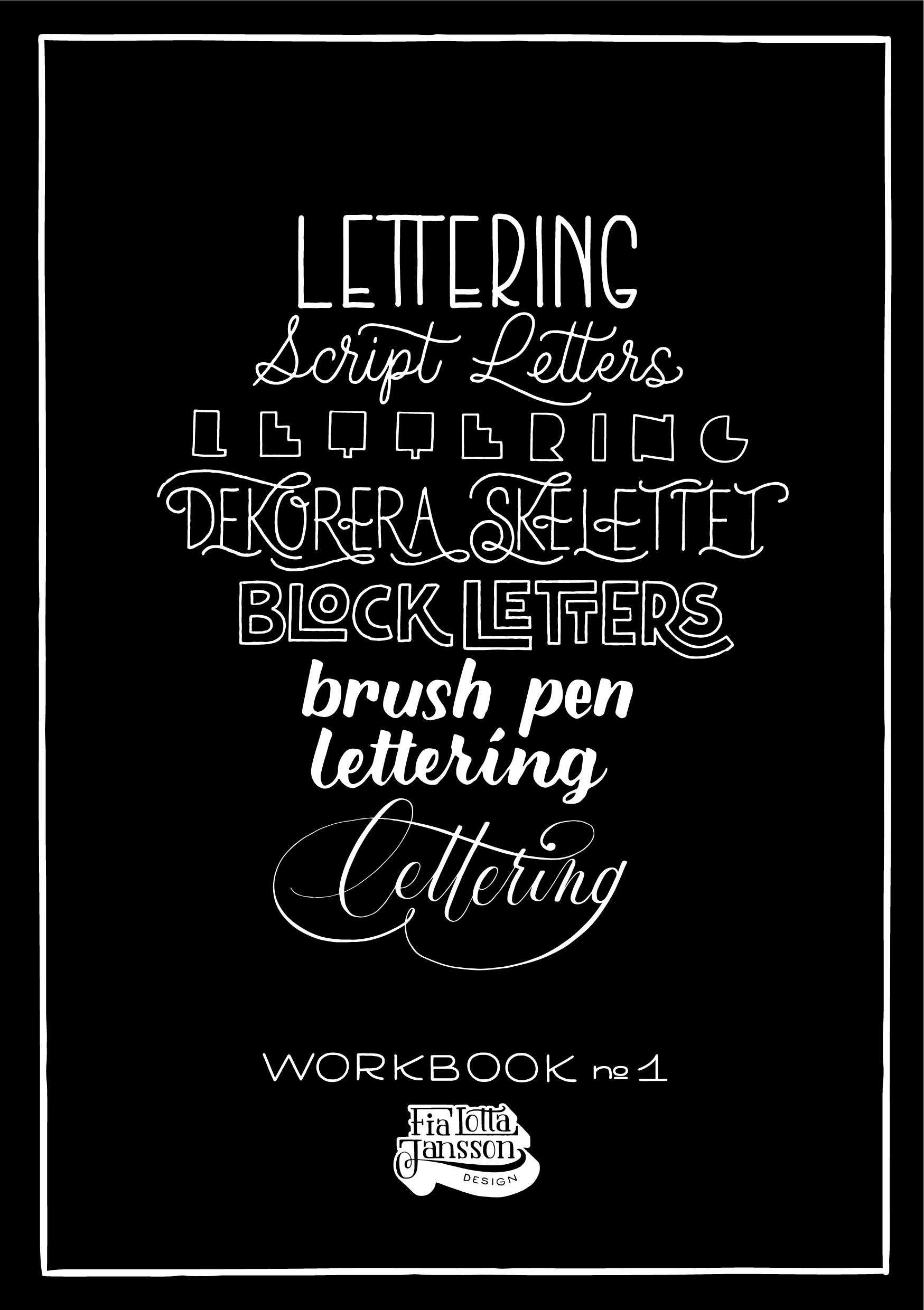 Lettering Workbook No 1 - Lekfulla och kreativa övningar skapade av bokstavsillustratör Sofie Björkgren-Näse / Fia Lotta Jansson Design.Boken för dig som vill bli inspirerad att börja med lettering – eller fortsätta bli inspirerad om du redan hållit på med lettering en tid!Blockbokstäver, Brush Lettering, dekorativa bokstavsformer, skelettbokstäver med mera. Detta är en arbetsbok som du ska rita och klottra i! Boken innehåller 105 sidor, med randigt, prickigt och blankt papper i Munken Polar från Arctic Paper, vilket är ett skönt och bra papper att rita påMjukpärm och öppen bindning – riktigt snygg när den ligger framme. Men låt den inte ligga för länge, den ska ju användas!Lettering Workbook No 1 finns att köpas hosPen Store (både i webshop och i butik)Rum för Papper, GöteborgPostmuseums museishop, Gamla Stan, SthlmJakobstads Bokhandel, Jakobstad