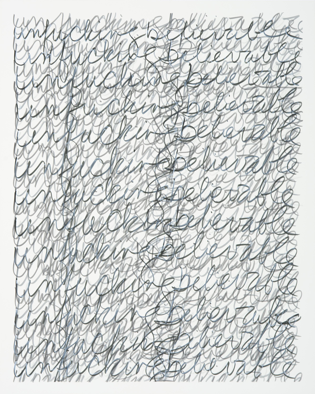 "unfuckingbelievable, 2017 | ink on panel | 30"" x 24"" x 1.5"""