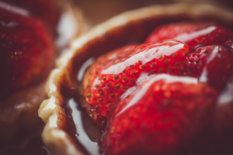 Strawberry Tart Lined With Chocolate Ganache