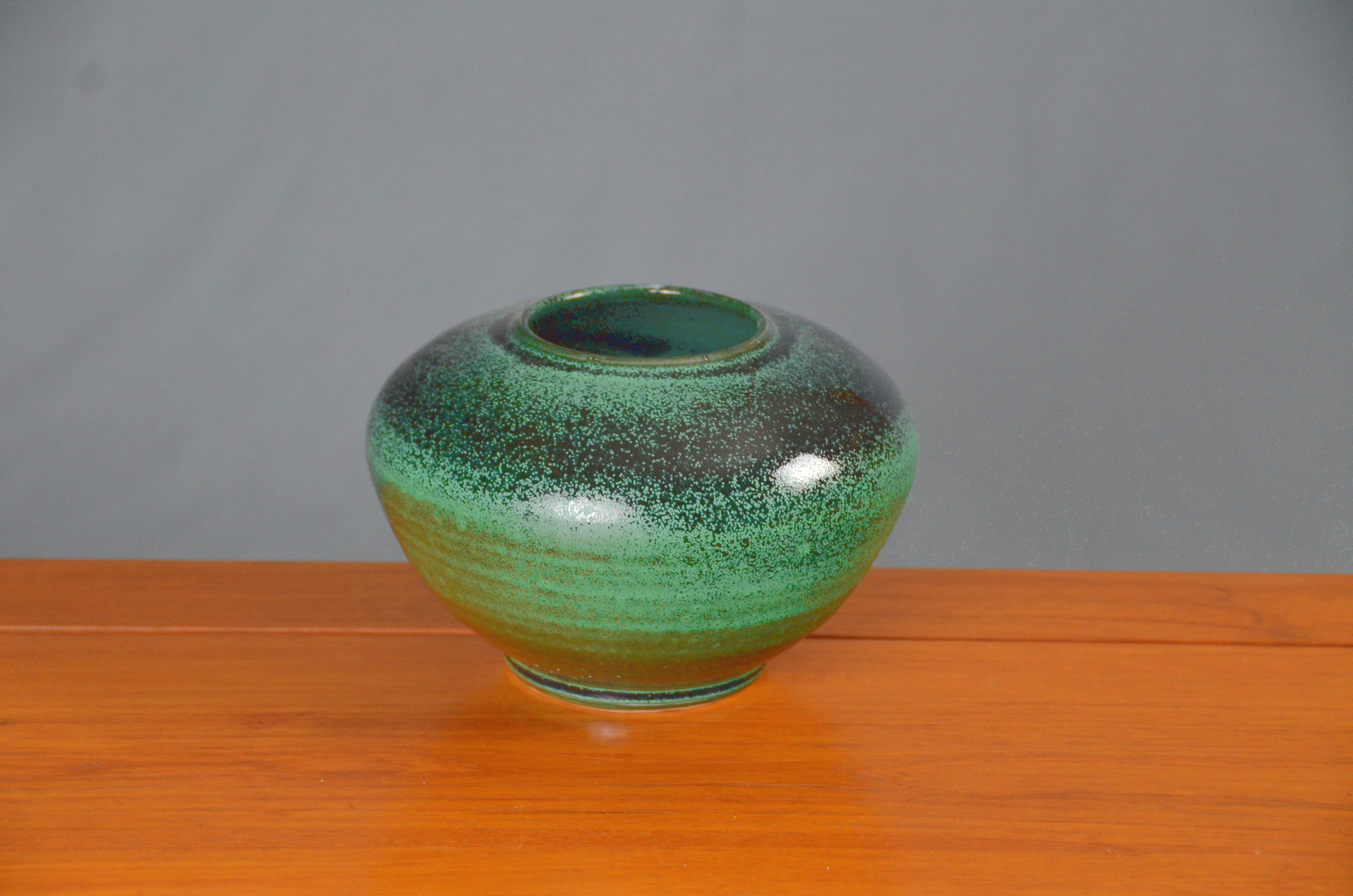 Porcelain Matte Green & Black Vase | Hand thrown porcelain on a potter's wheel.  High Fired, Cone 10, Matte to Black Glaze, Hand Trimmed, Ceramic | Caldwell Pottery