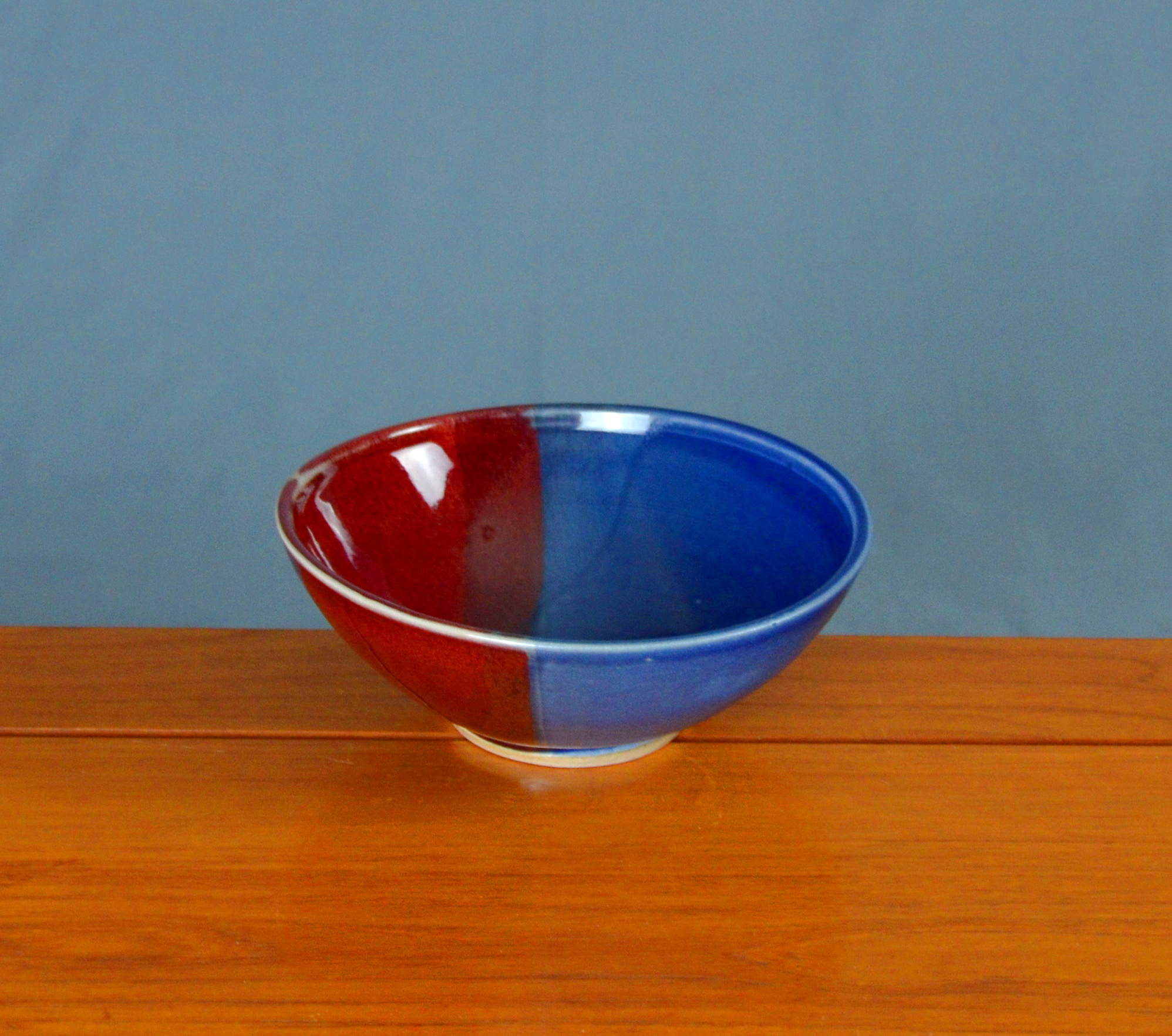 Porcelain Red & Blue Japanese Bowl | Hand thrown porcelain on a potter's wheel.  High Fired, Cone 10, Vegas Red & Flambe Blue Glazes, Hand Trimmed, Ceramic | Caldwell Pottery