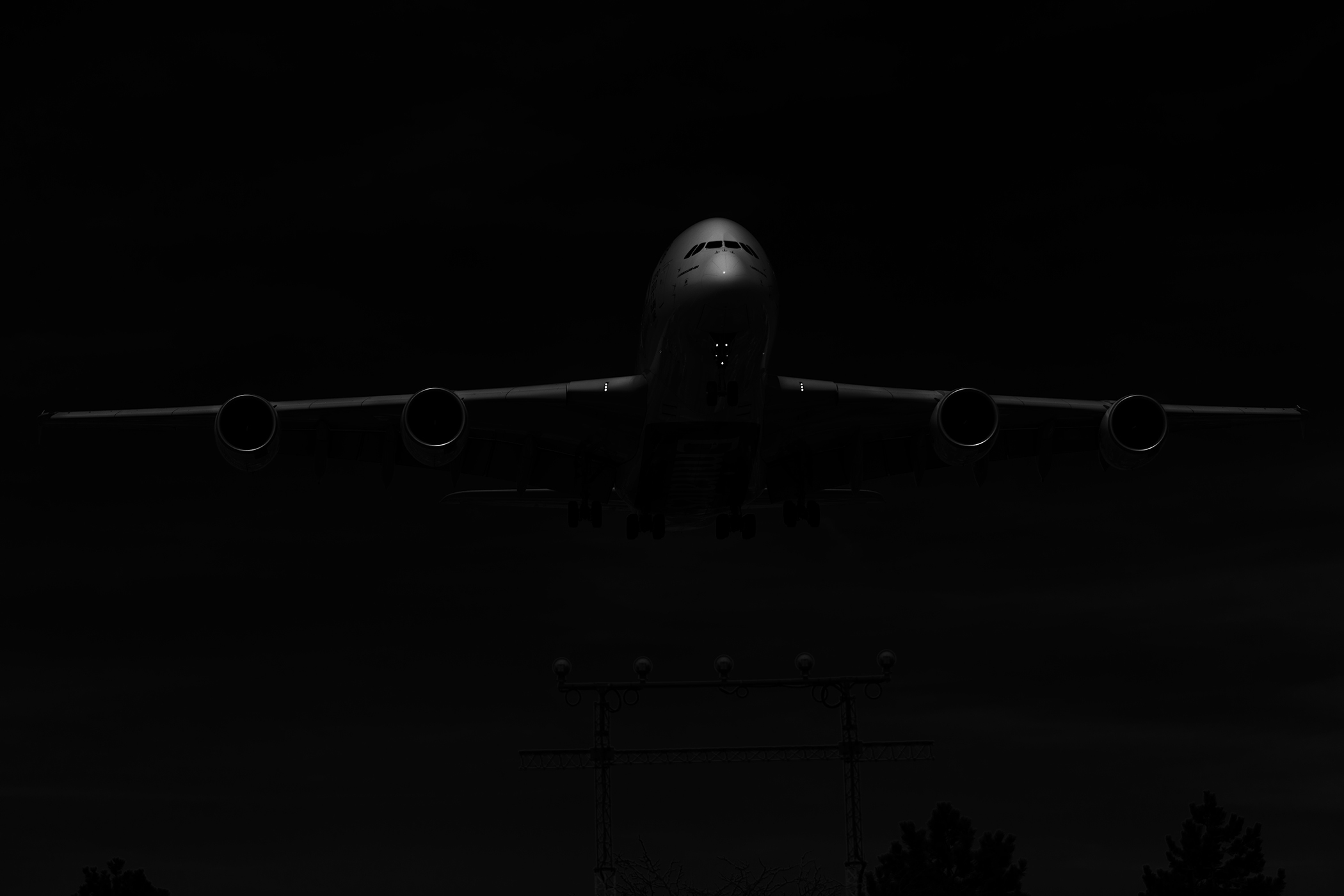 THe Laird Co Emirates A380 Black and white full landing aviation aveek airplane airline photography.jpg