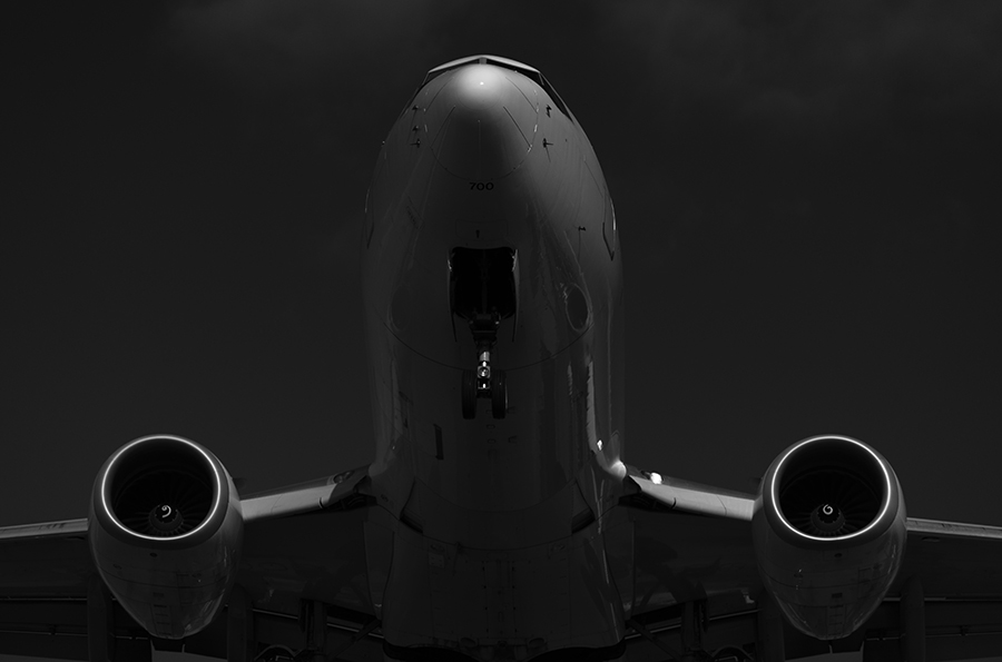 THe Laird Co WestJet 737 Boeing Plane Portrait Black and White Aviation Avgeek AIrplane Airline Photography for site.jpg