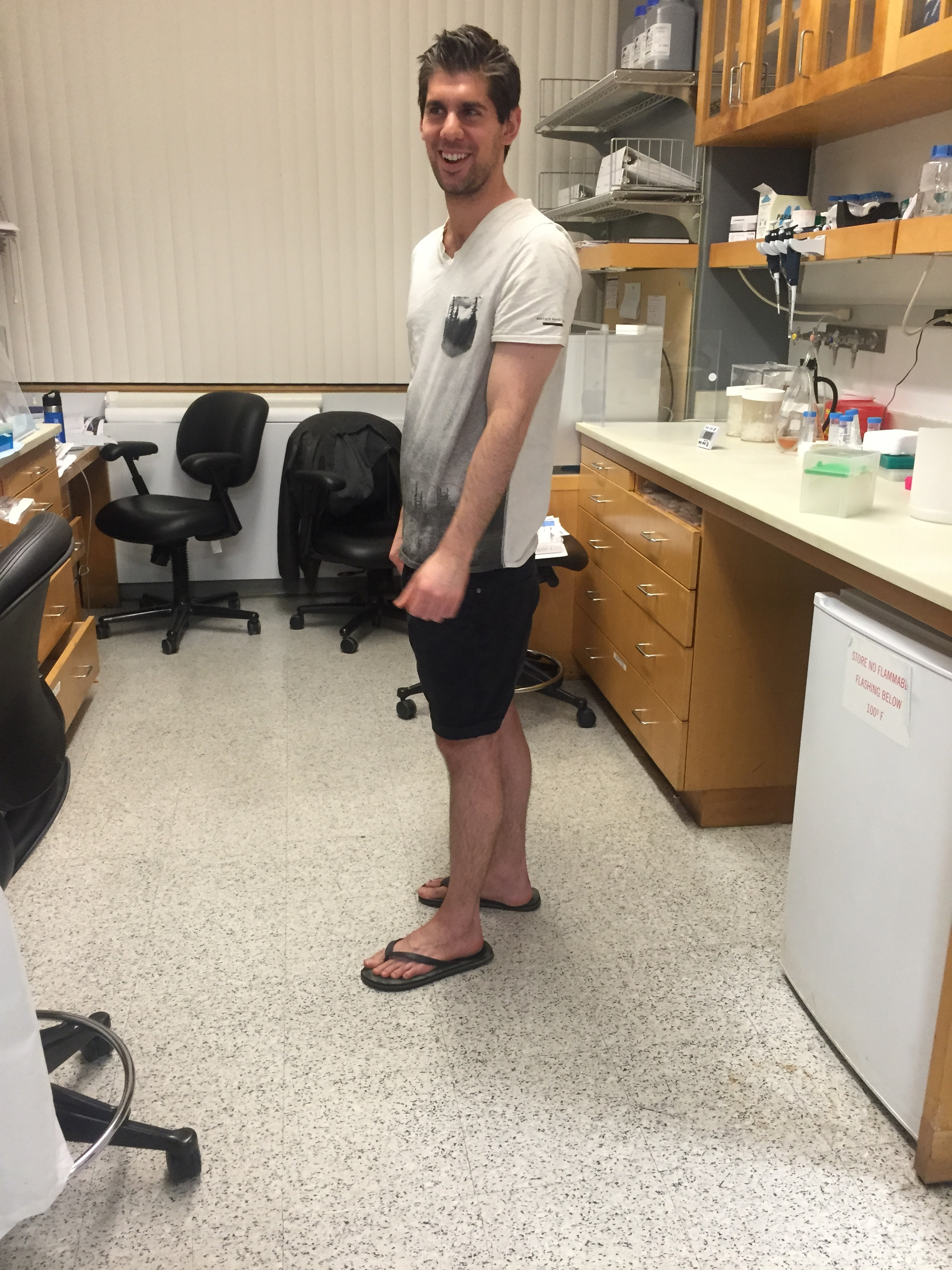 Our Australian Post-Doc in shorts in January