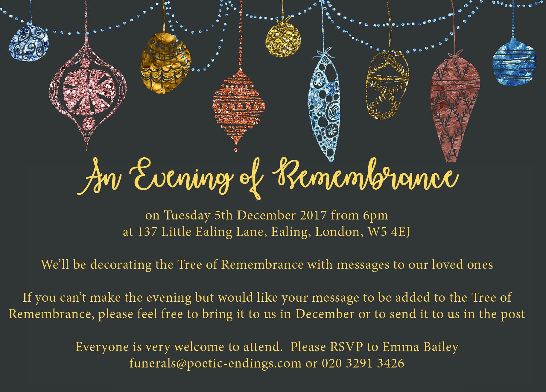 Poetic Endings Christmas invitation