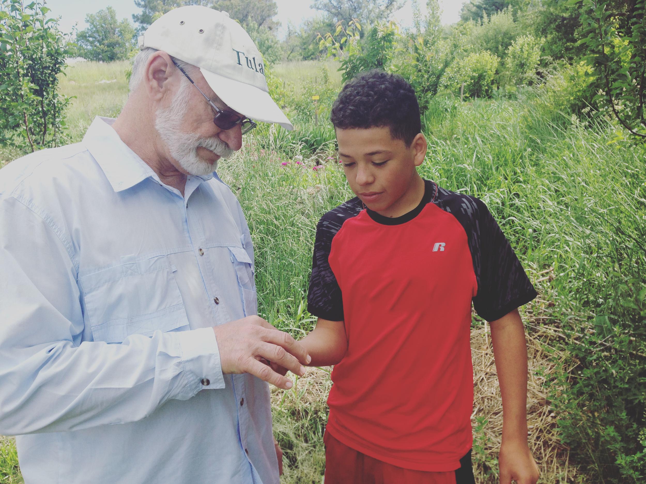 Mr Hoodless helps a student identify a macroinvertebrate