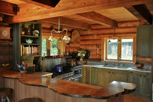 Adirondack Green Rustic Barnwood Kitchen