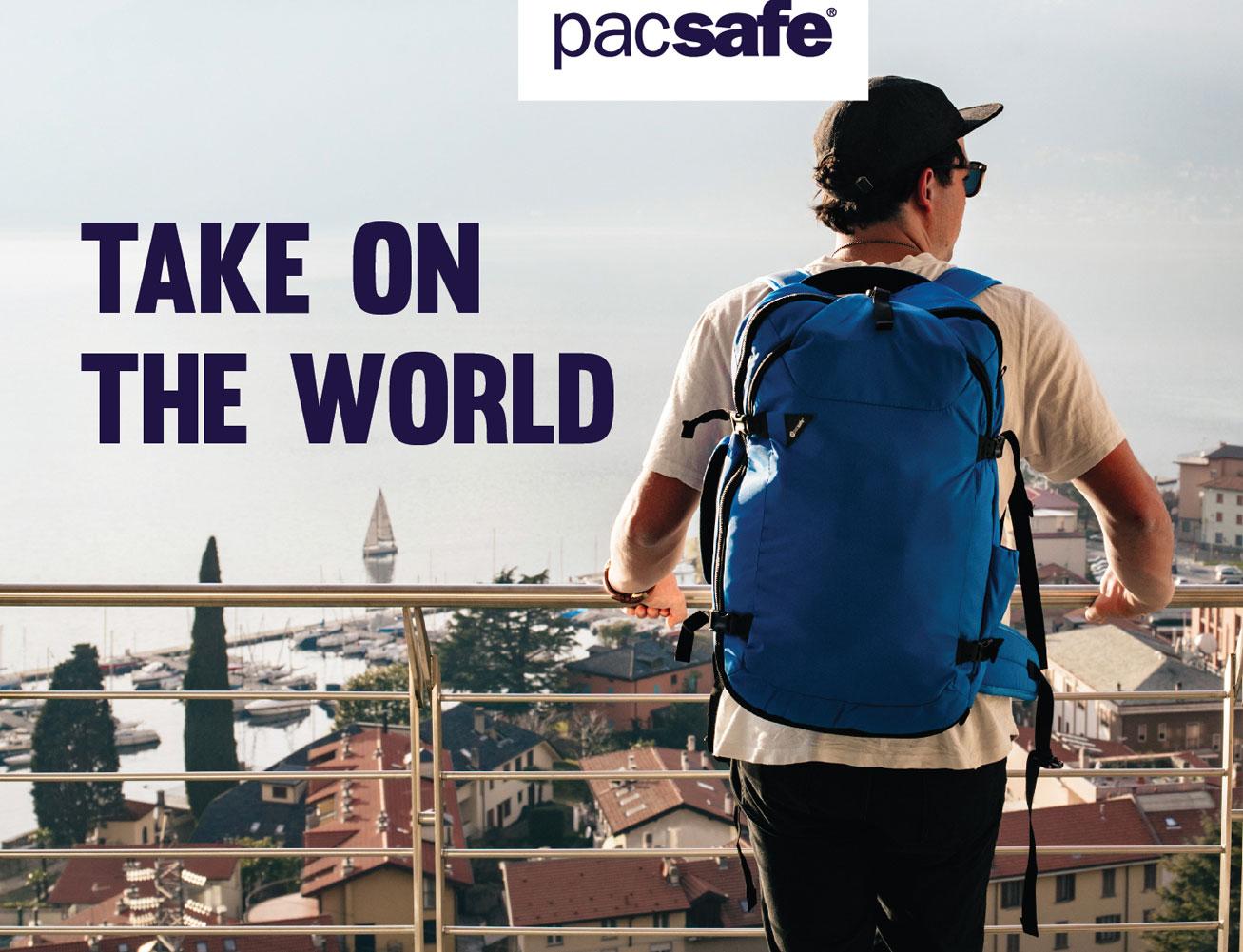 pacsafe travel backpack traveling blue