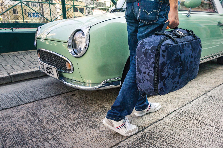 pacsafe duffel bag blue print travel