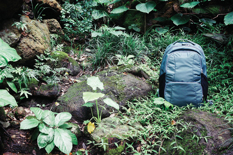 pacsafe backpack daypack hiking travel blue