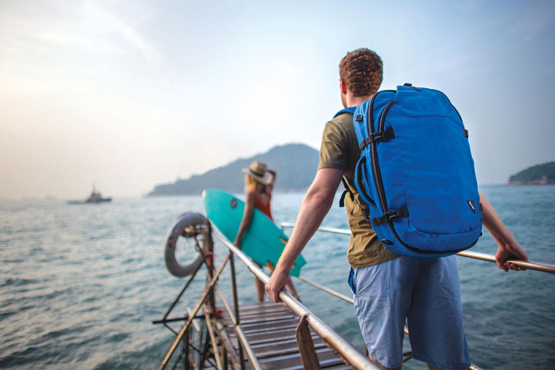 pacsafe backpack duffel bag blue travel surf