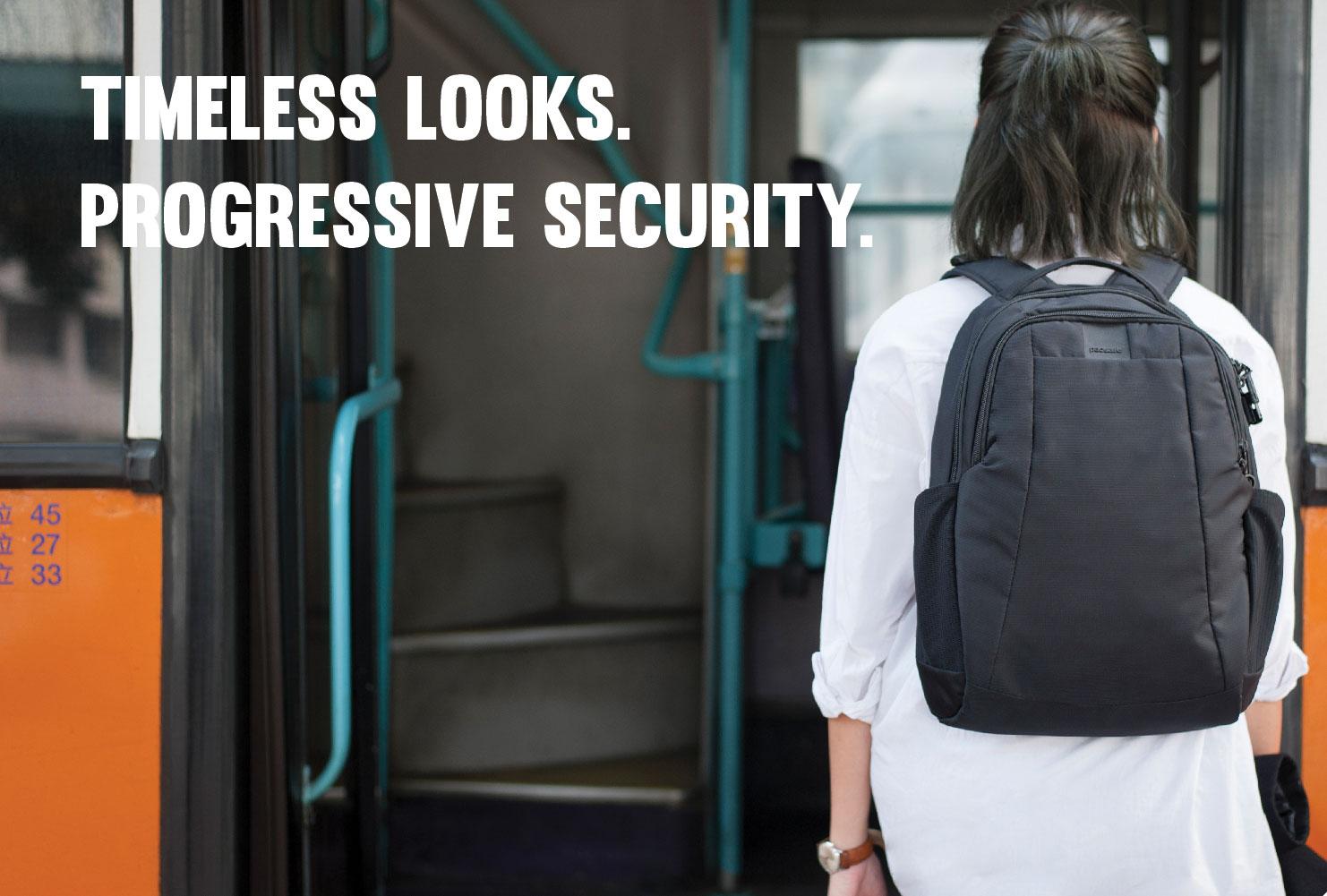 pacsafe travel back pack black secure lock