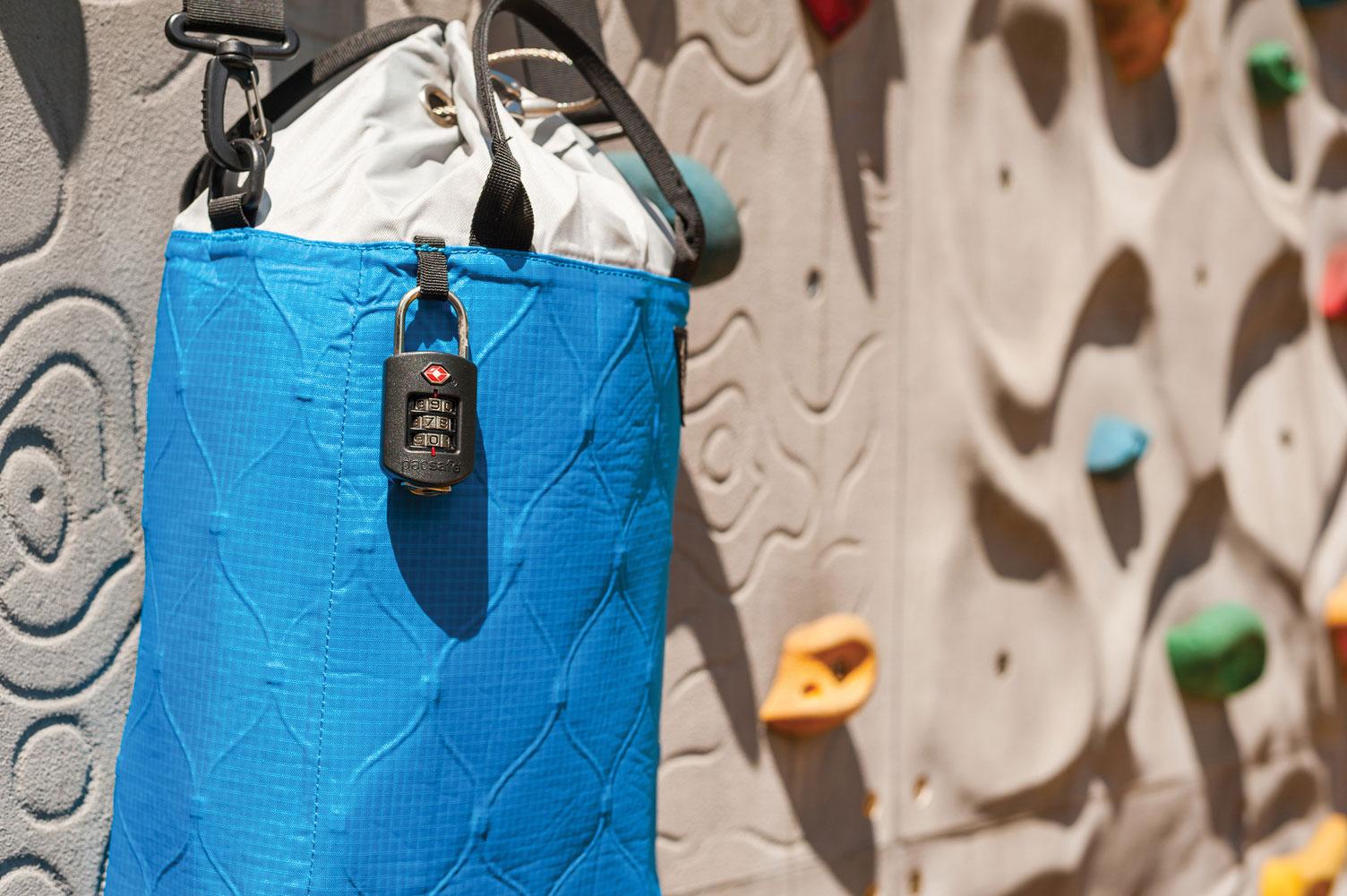 pacsafe secure lock travel rock climbing blue