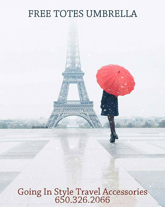 Get a Free Travel Totes Umbrella in store at Going In Style Travel Accessories when you spend $100 or more ☔☔☔Rainy Season is Here! @stanfordshop . . . . . #stanfordmall #lovegoinginstyle #freeumbrella #paloaltoca #redumbrella #parisfrance #travelparis #Eiffeltower #rainrain #rainyday #umbrellagram