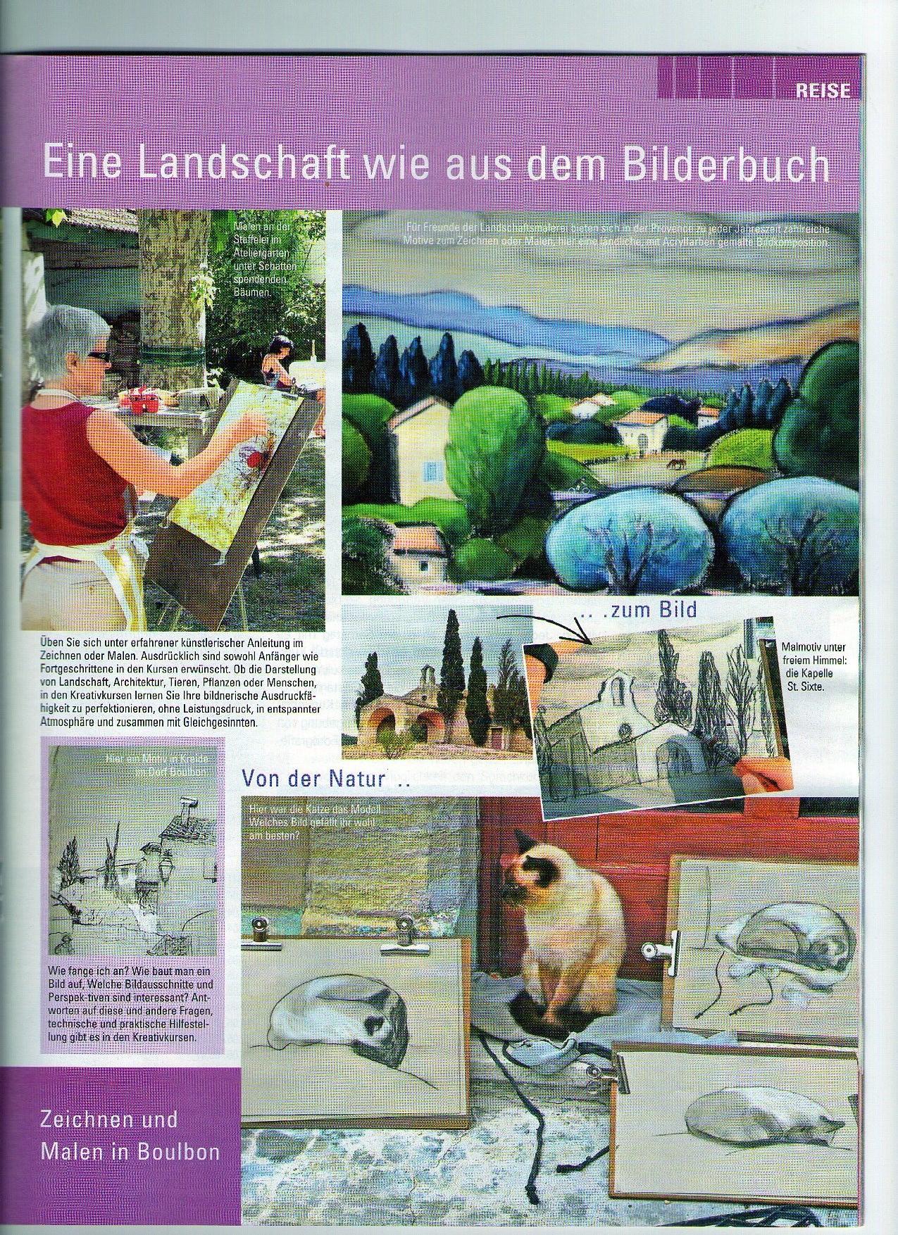provenzalische Landschaft, Malkurse, Zeichenkurse in der Provence