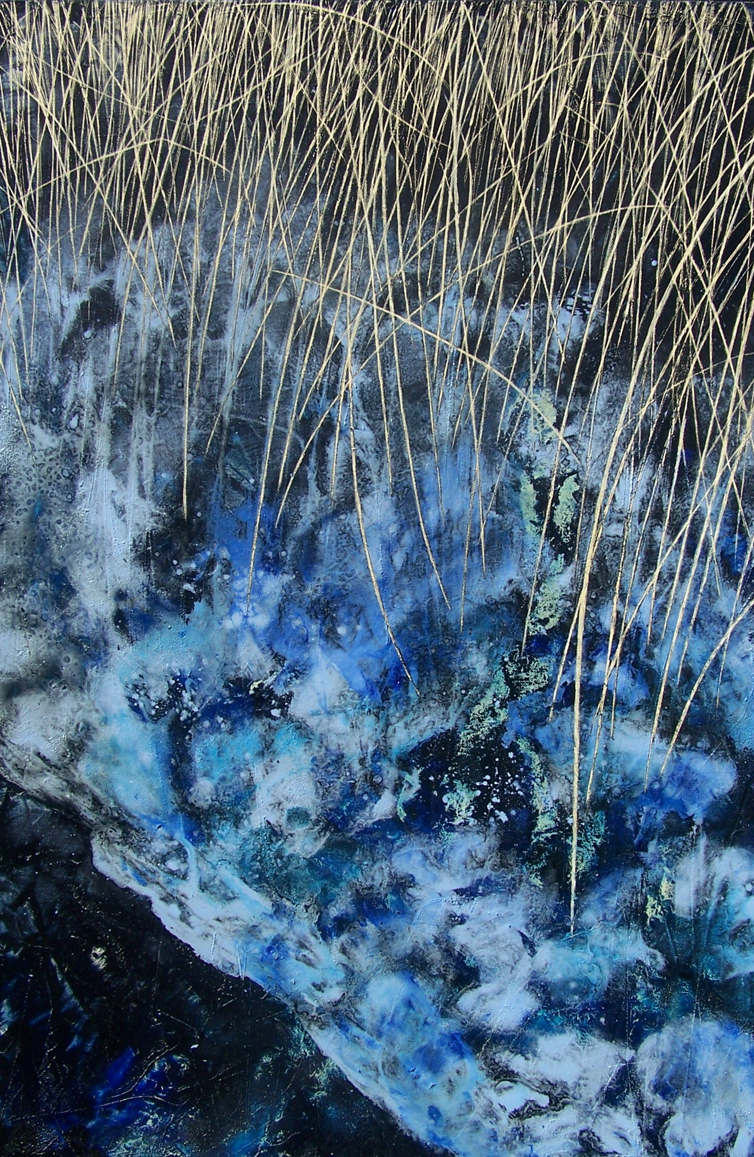 Frozen Line, Winter reeds 2, oil on canvas