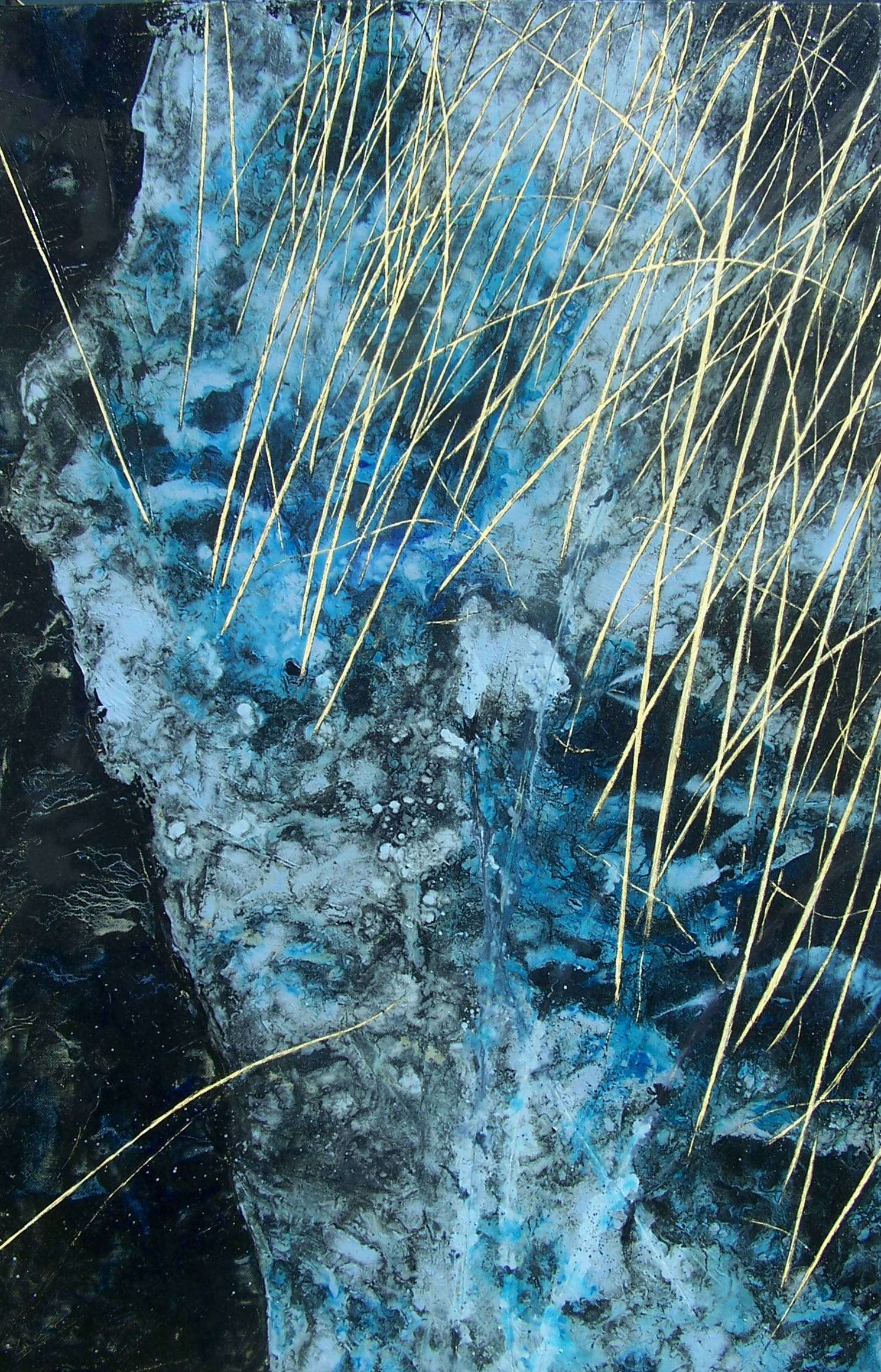 Frozen Line, Winter Reeds. oil on canvas