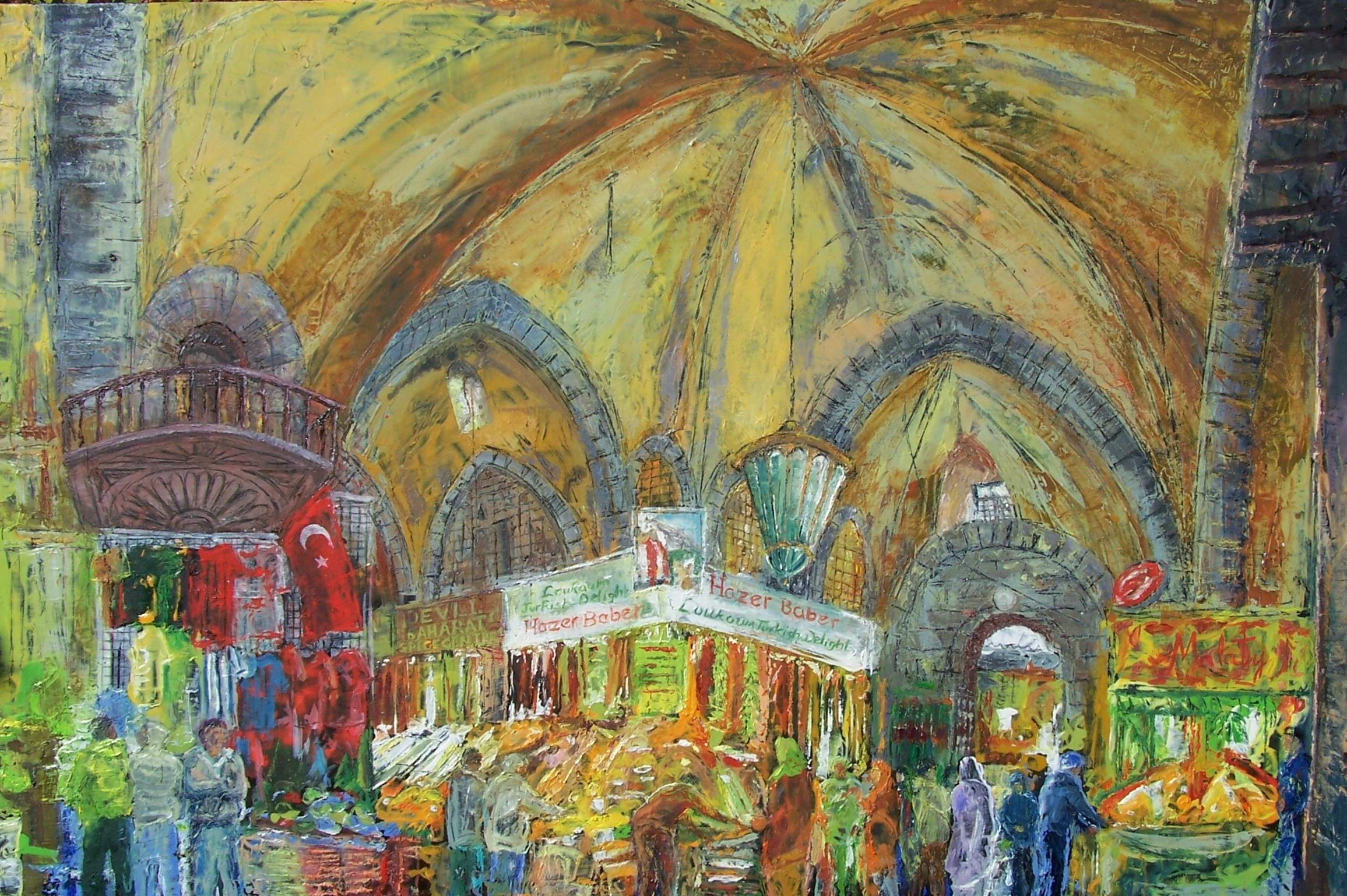 Spice Bazaar, Istanbul, oil on canvas