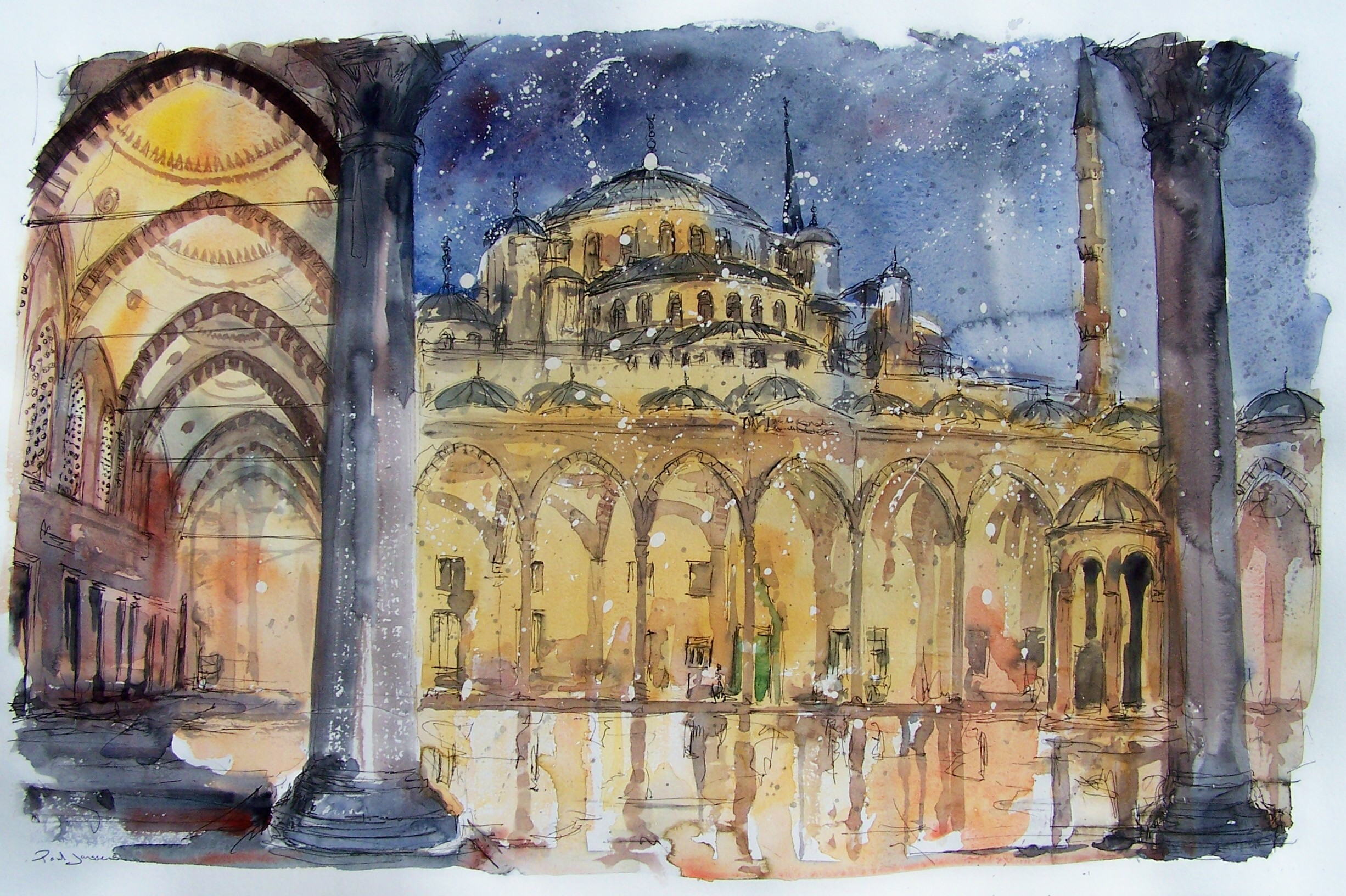 Blue Mosque, Istanbul 1, watercolour and pen, 76x49cm