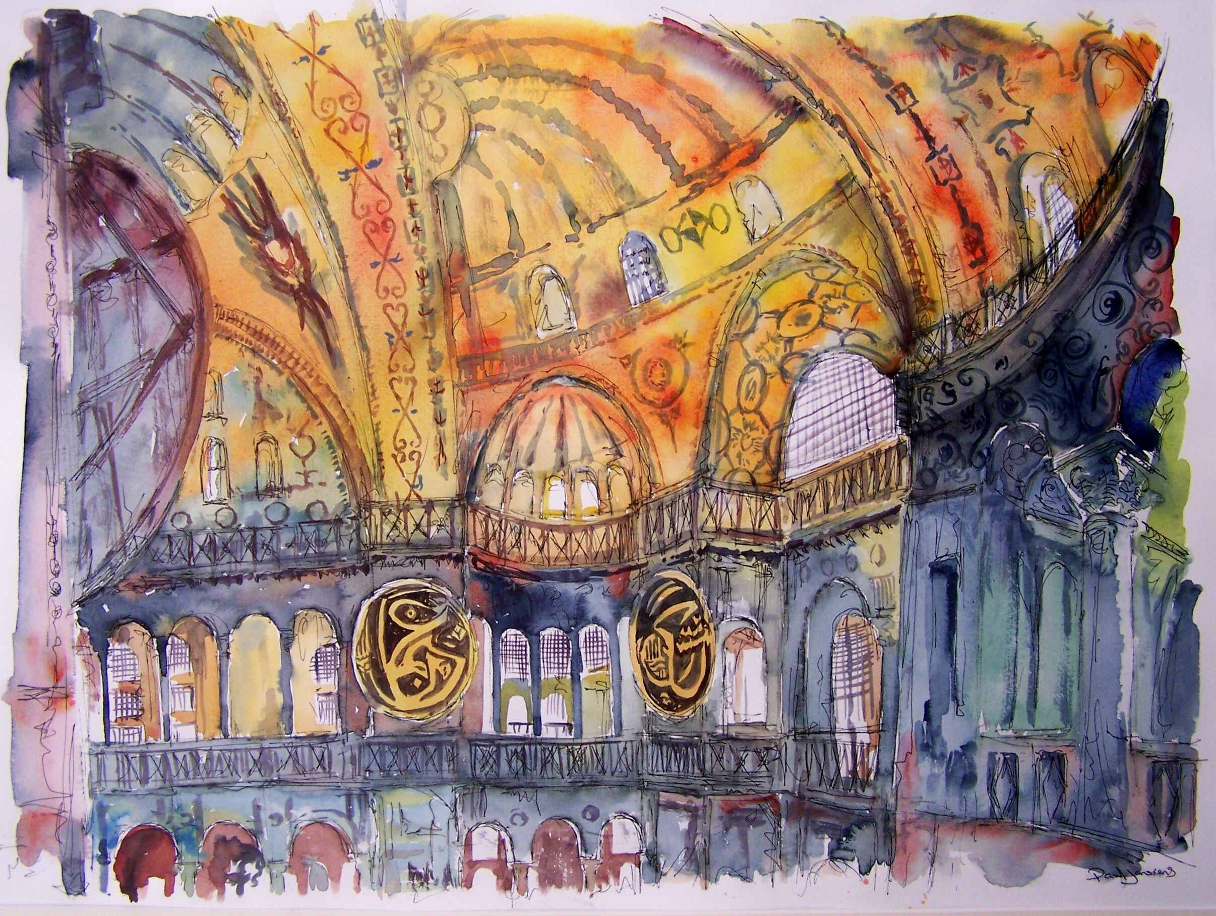 Haghia Sophia, Istanbul, watercolour and pen, 45x60cm