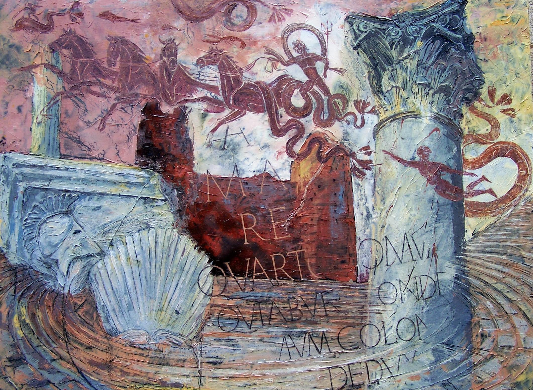 Ostia Antica, Capitolium, oil on canvas, 90x120