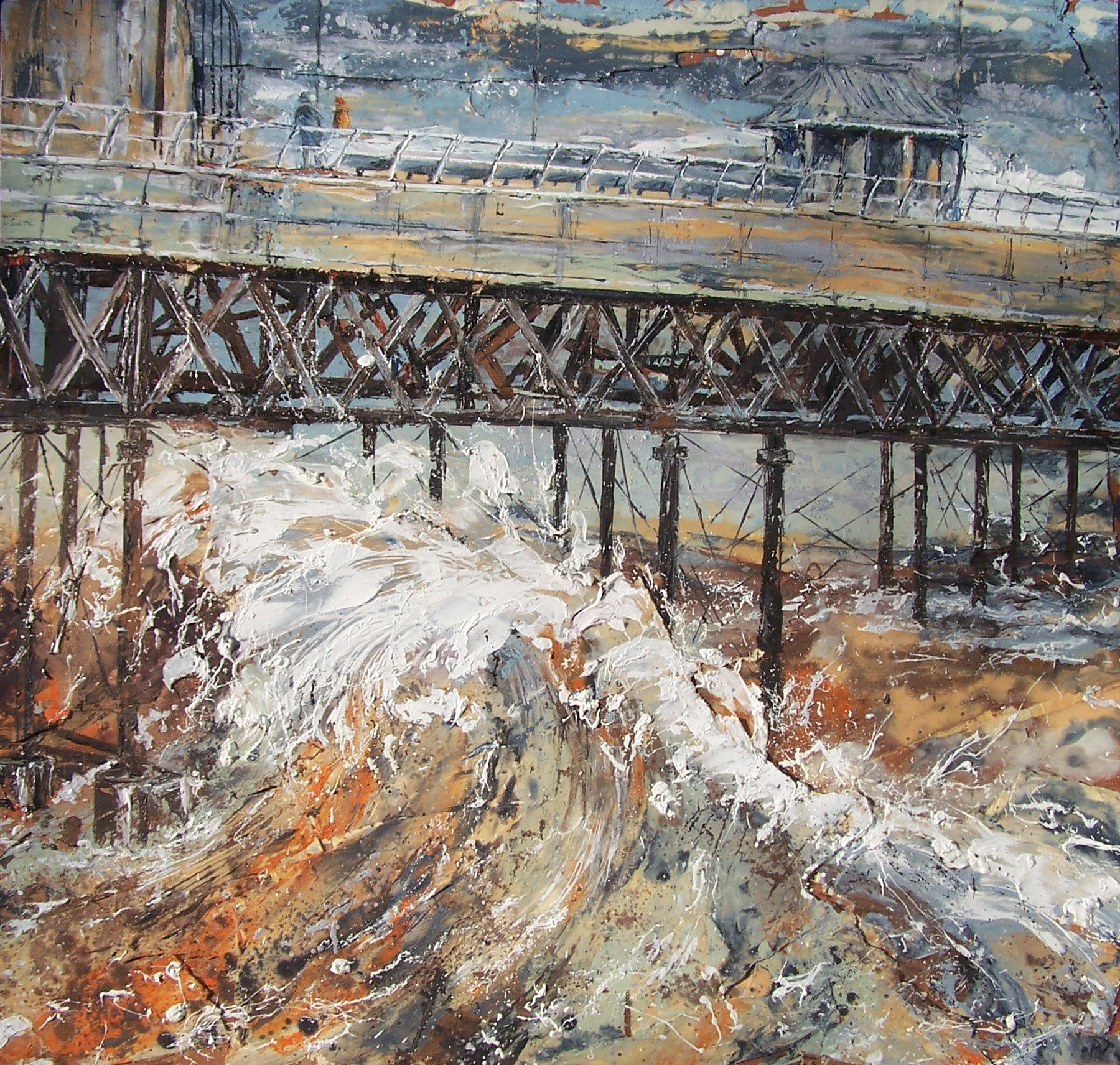 Cromer Pier 2, Oil on wood