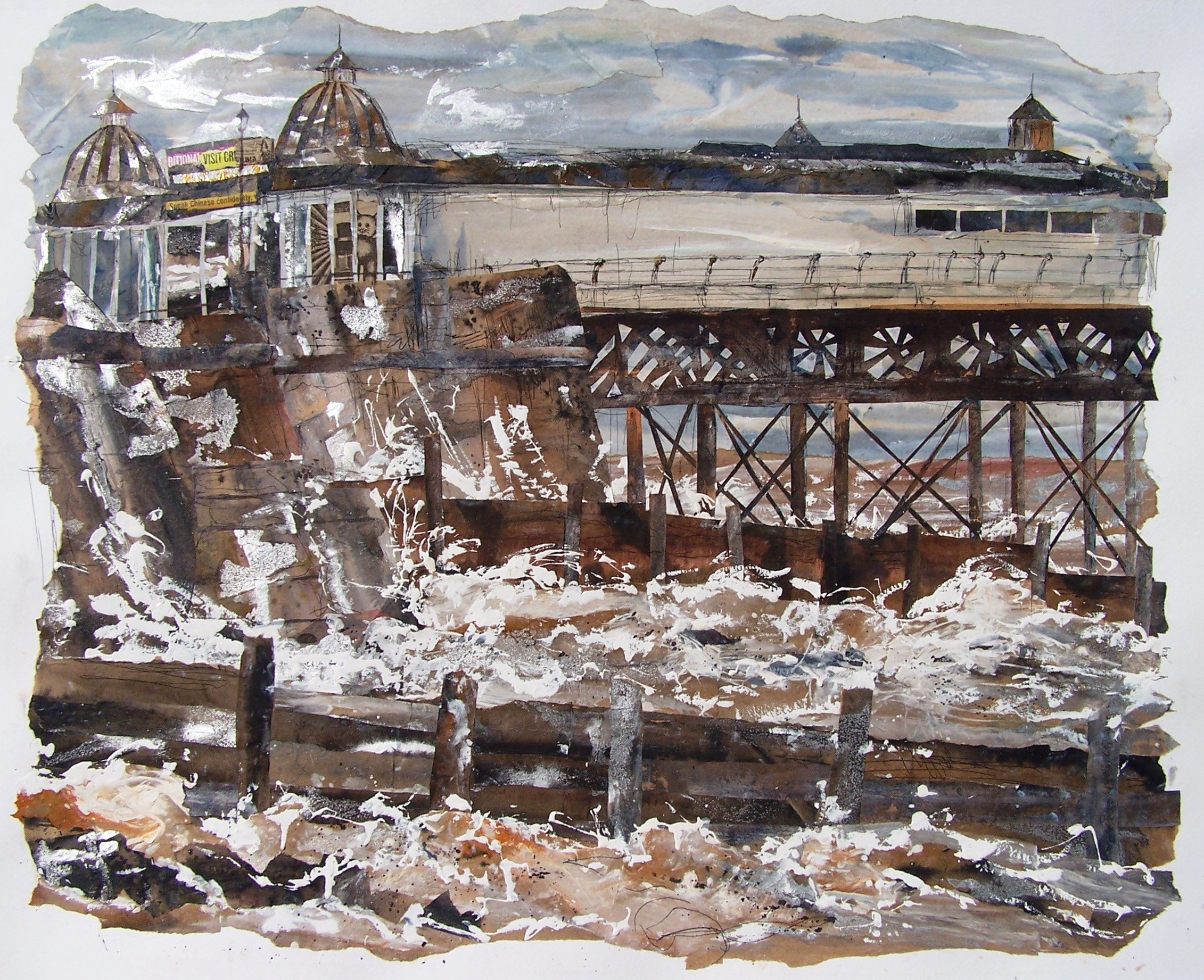 Cromer Pier 6, acrylic, ink and collage