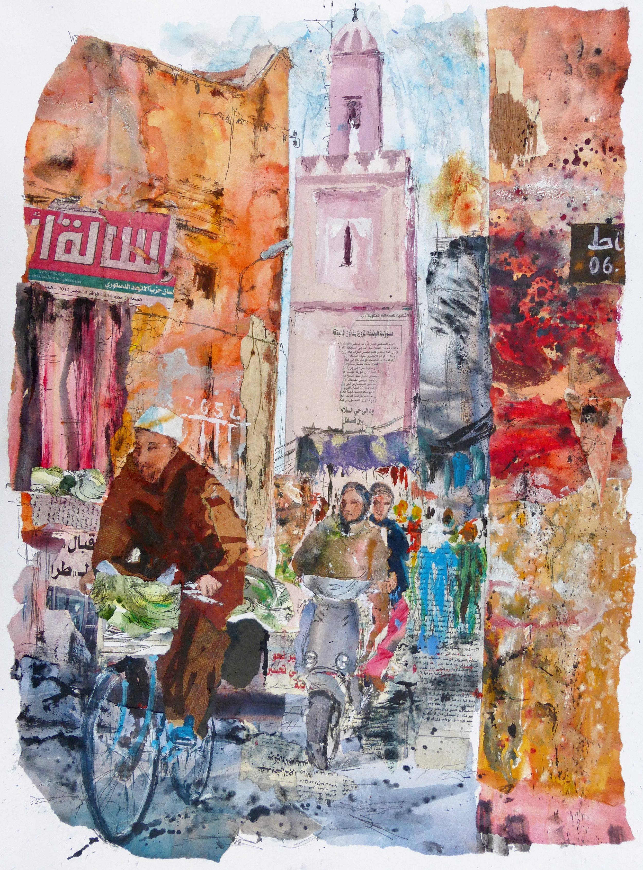 Marrakech 1, Morocco, Collage, ink and acrylic