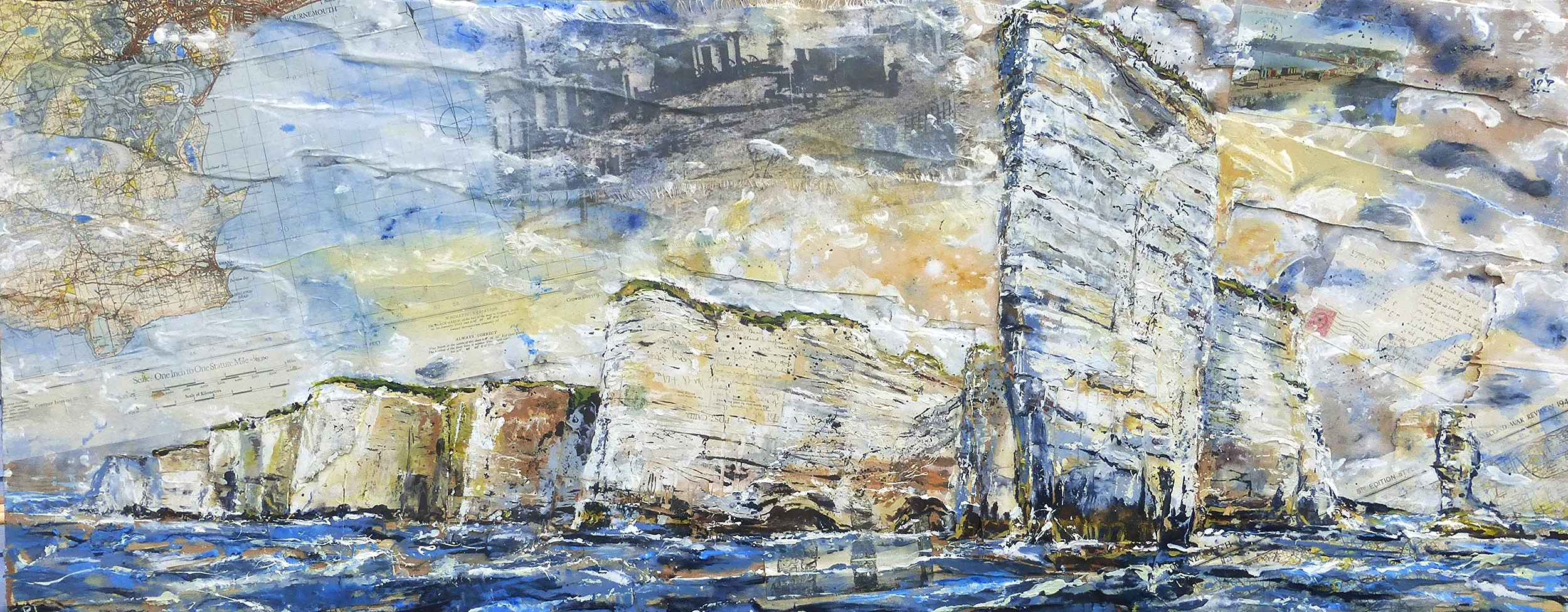 Old Harry Rock to Ballard Point, Purbeck Coast, Dorset. Oil, acrylic, photo-silkscreen and collage on wood.