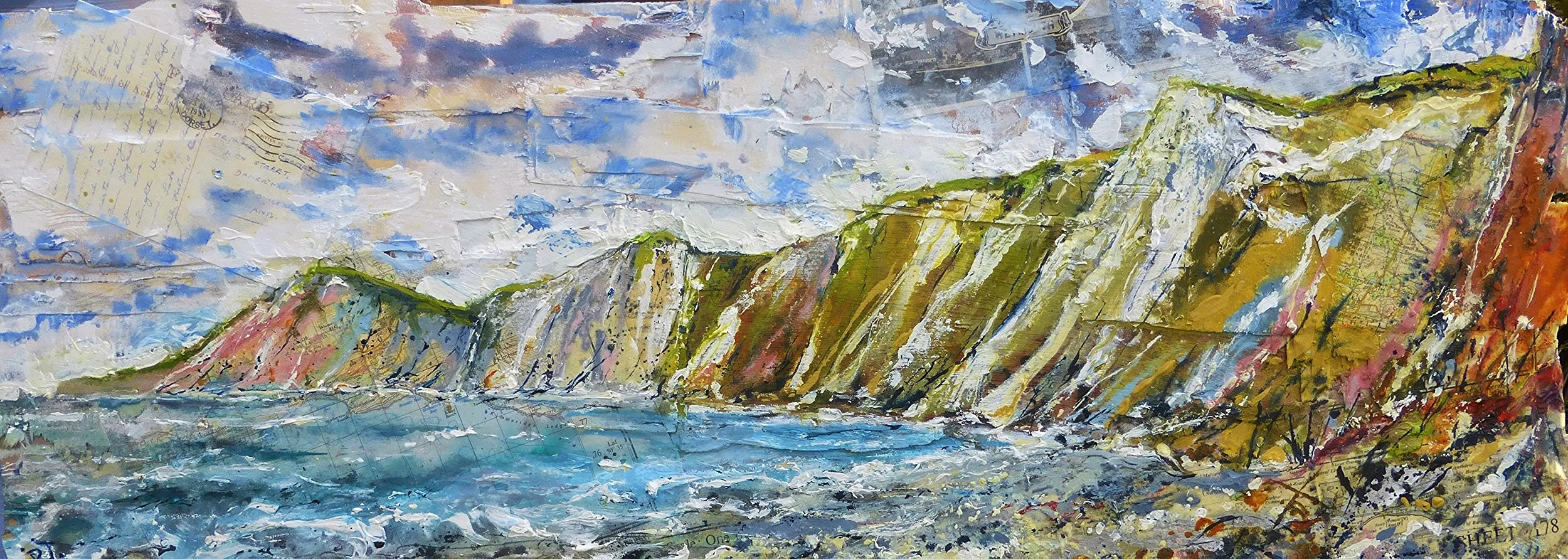 Worbarrow Bay, Purbeck Coast, Dorset. Oil, acrylic and collage on wood.