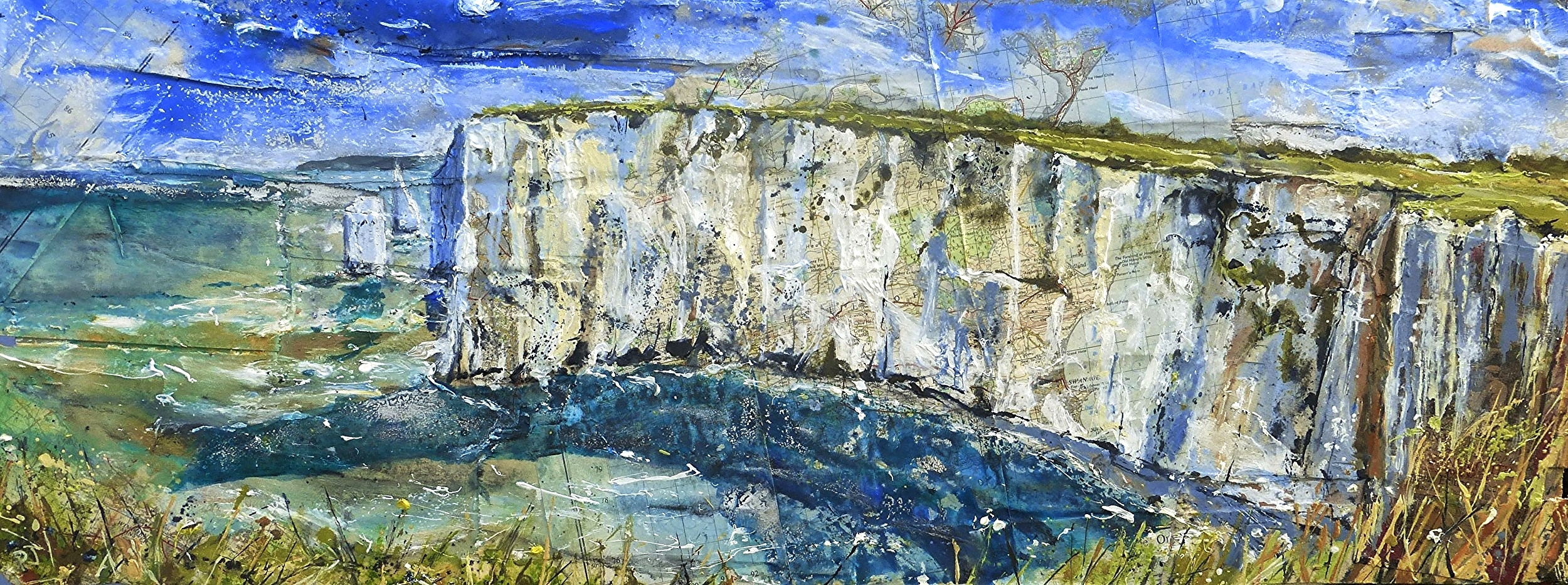 Parson's Barn and the Pinnacles, Purbeck Coast, Dorset. Oil, acrylic and collage on wood.