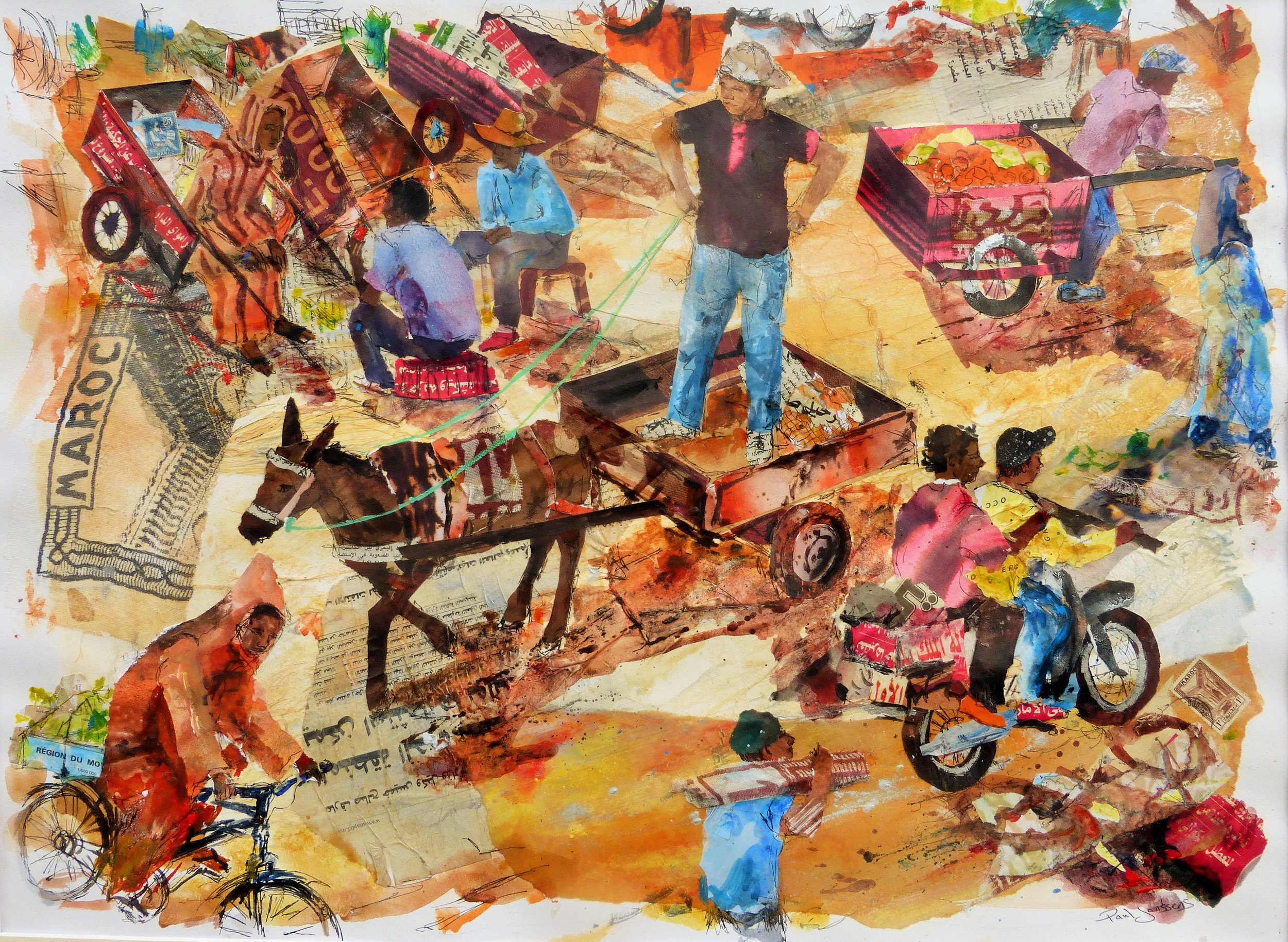 Place Jemaa el-Fna, Marrakech, Morocco. Acrylic, ink, collage and photo-silkscreen.