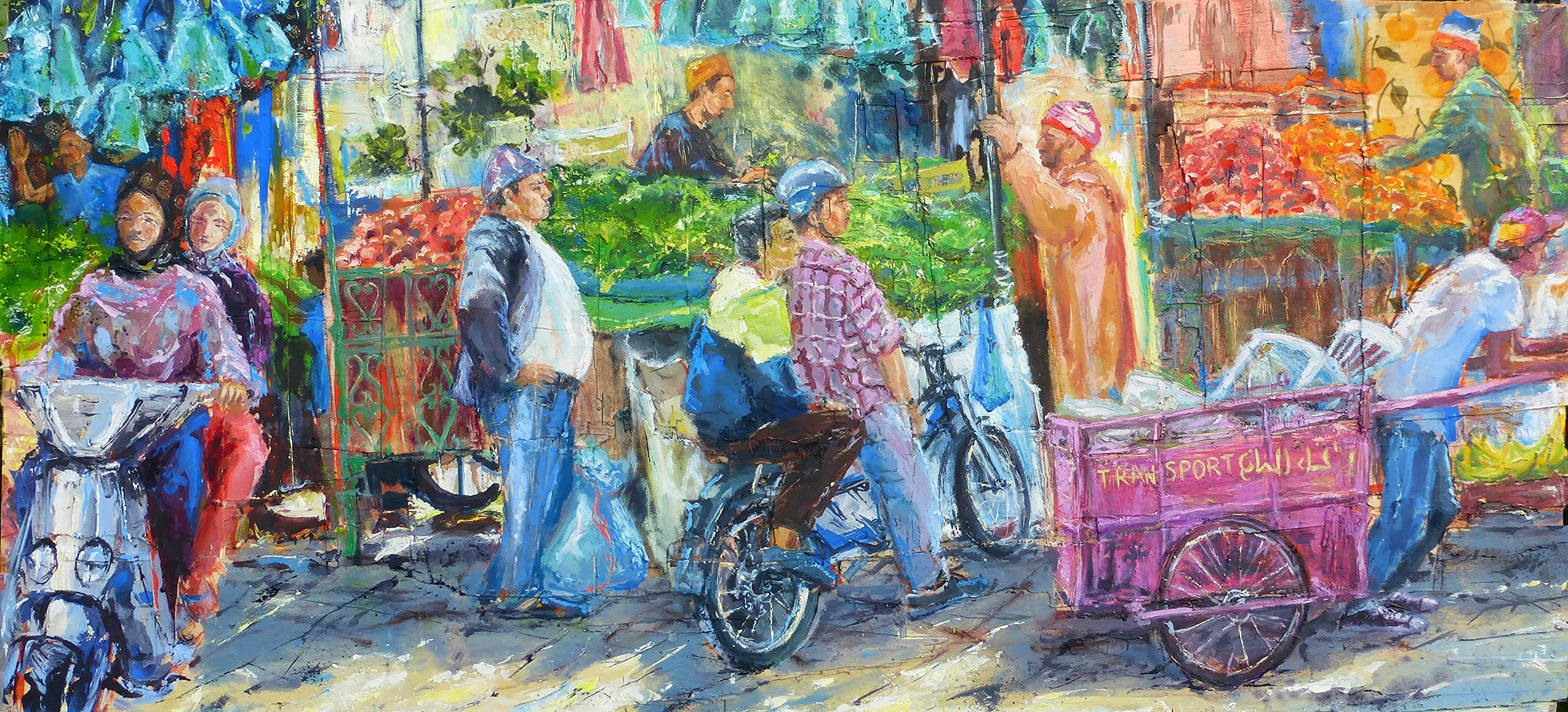 Marrakech Souk, Morocco, Oil and collage on wood