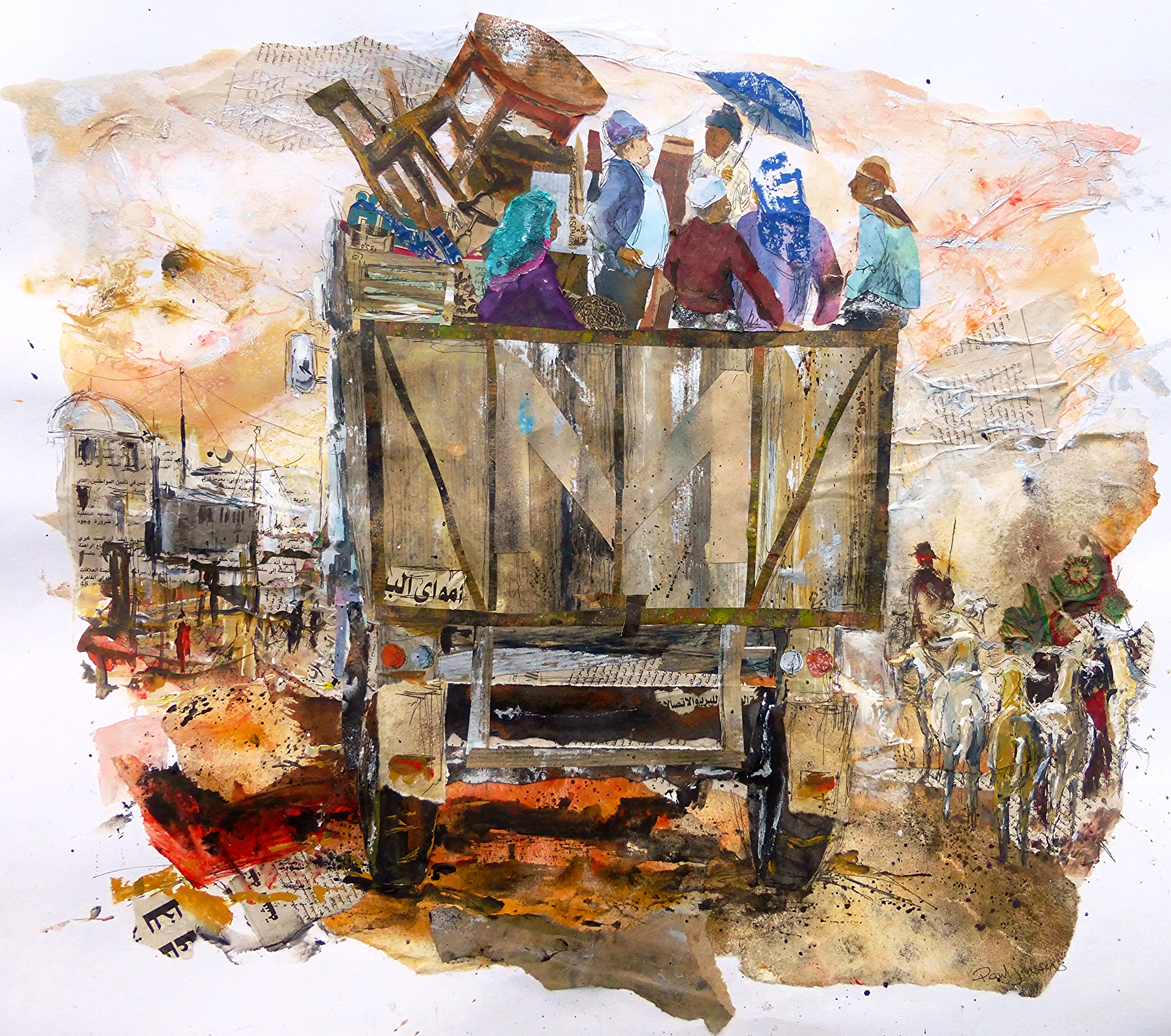 En route to Marrakech 2, Morocco, Collage, ink and acrylic