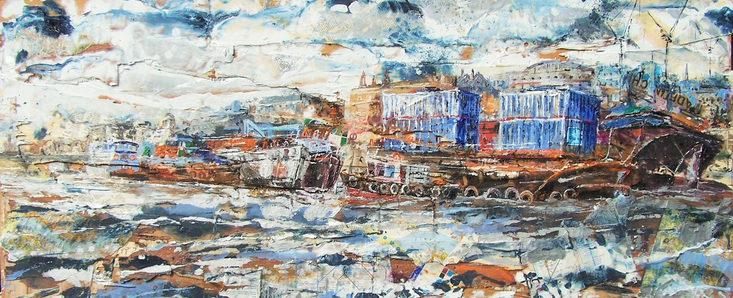 Thames Barges 2, Oil and collage on wood.