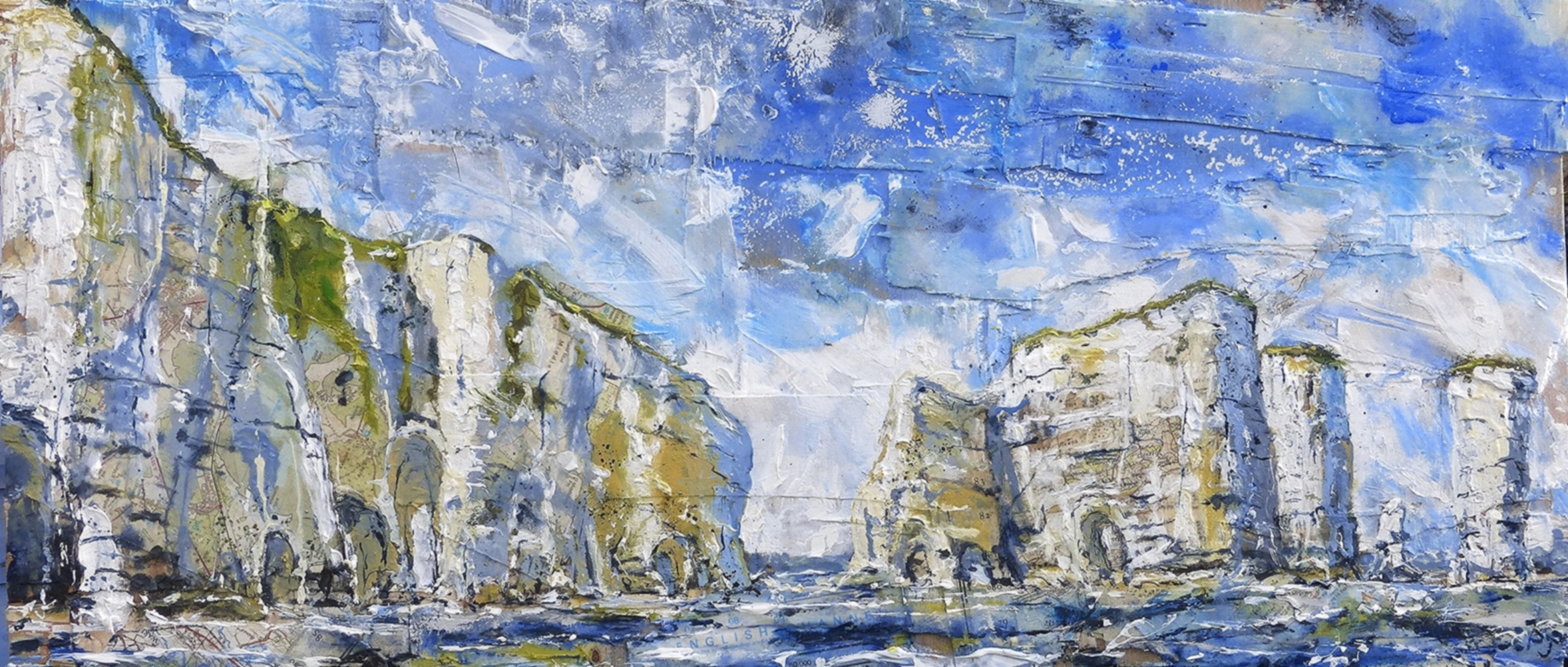 St. Lucas Leap and Old Harry Rock, Purbeck Coast, Dorset. Oil, acrylic and collage on wood.