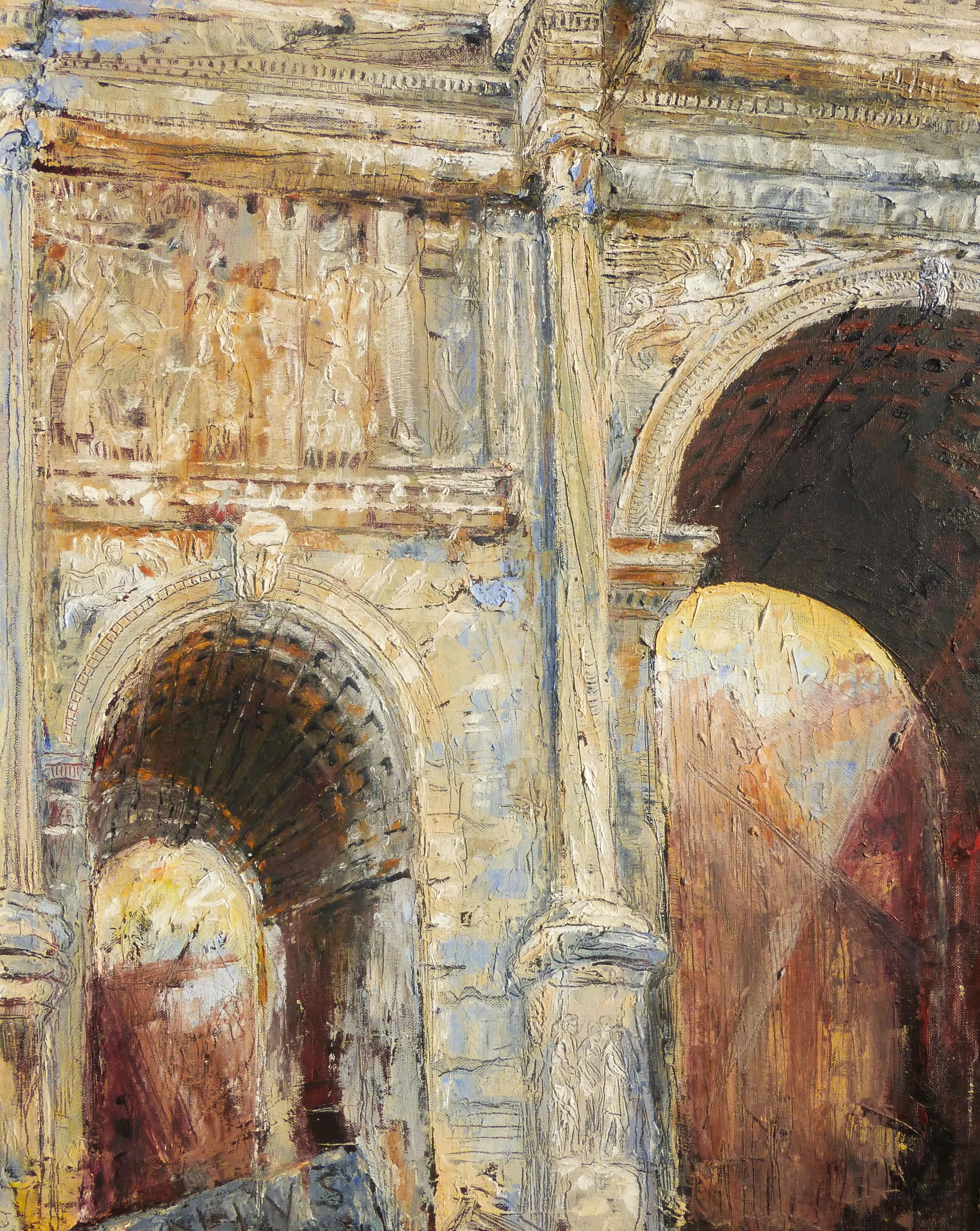 Arch of Septimius Severus, Forum, Rome, Oil on canvas, 65x54cm