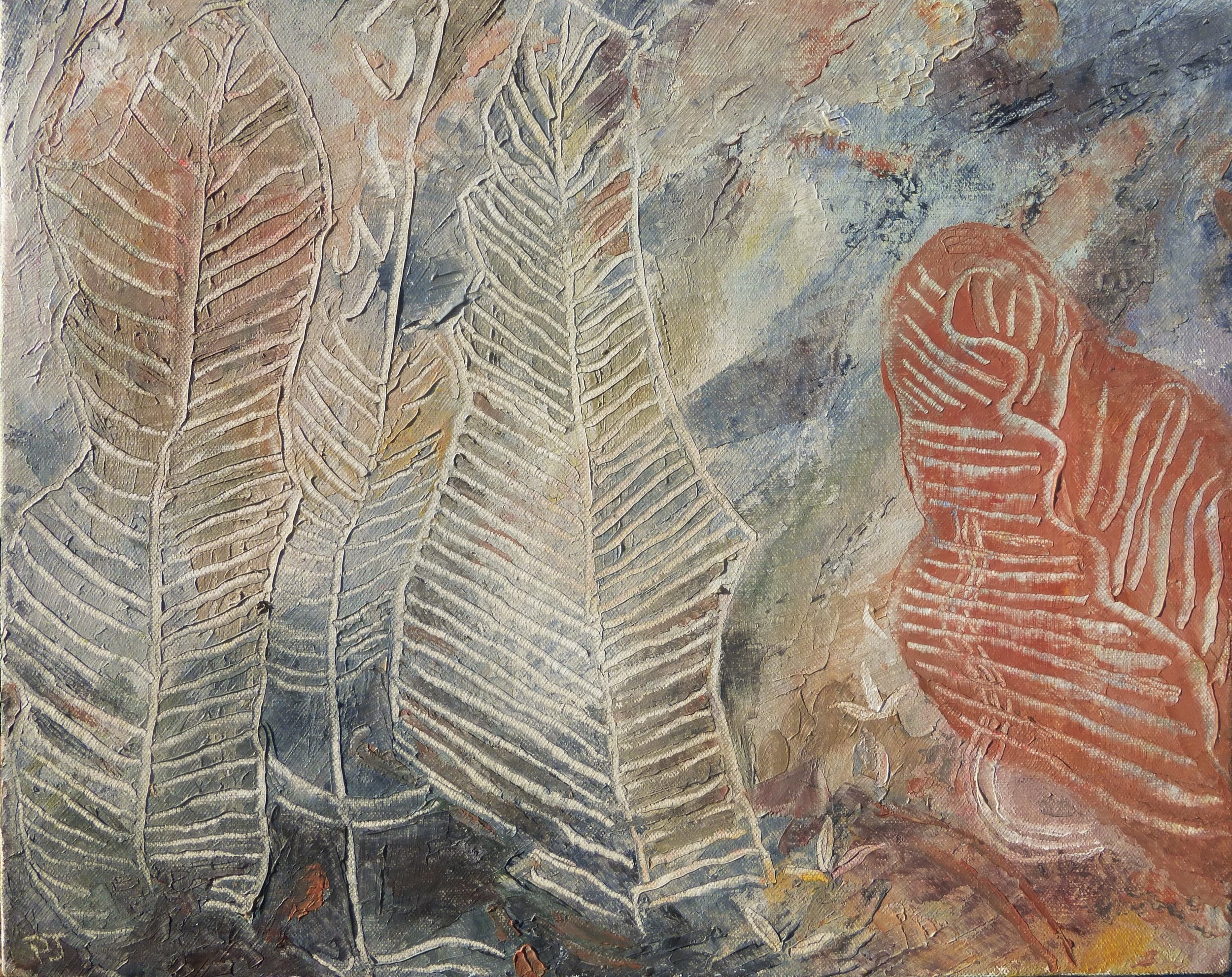 Aboriginal rock painting 3, oil on canvas