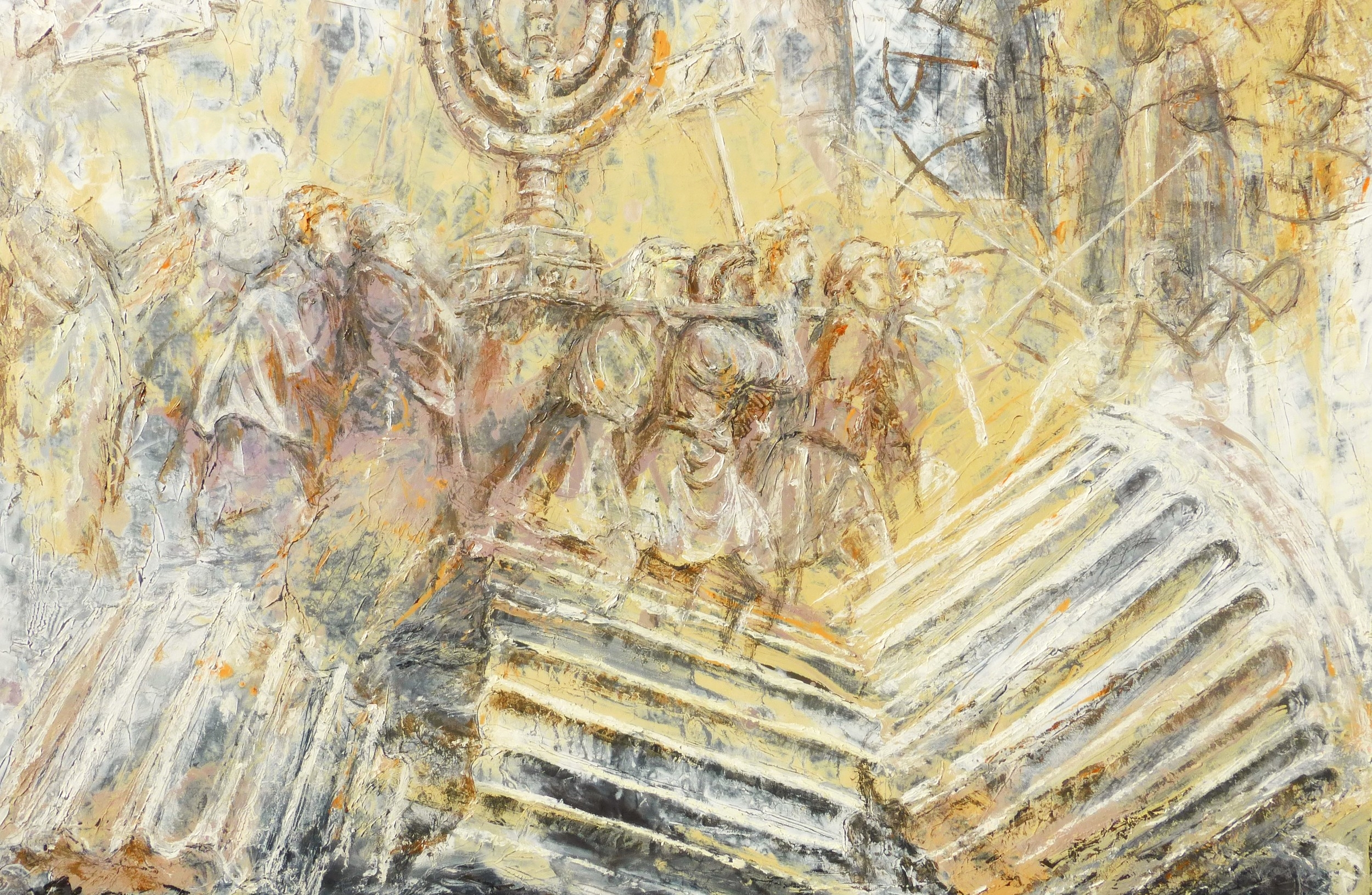 The Folly of Triumph, the Arch of Titus with the Hebrew Shekel of Independence. Oil on canvas