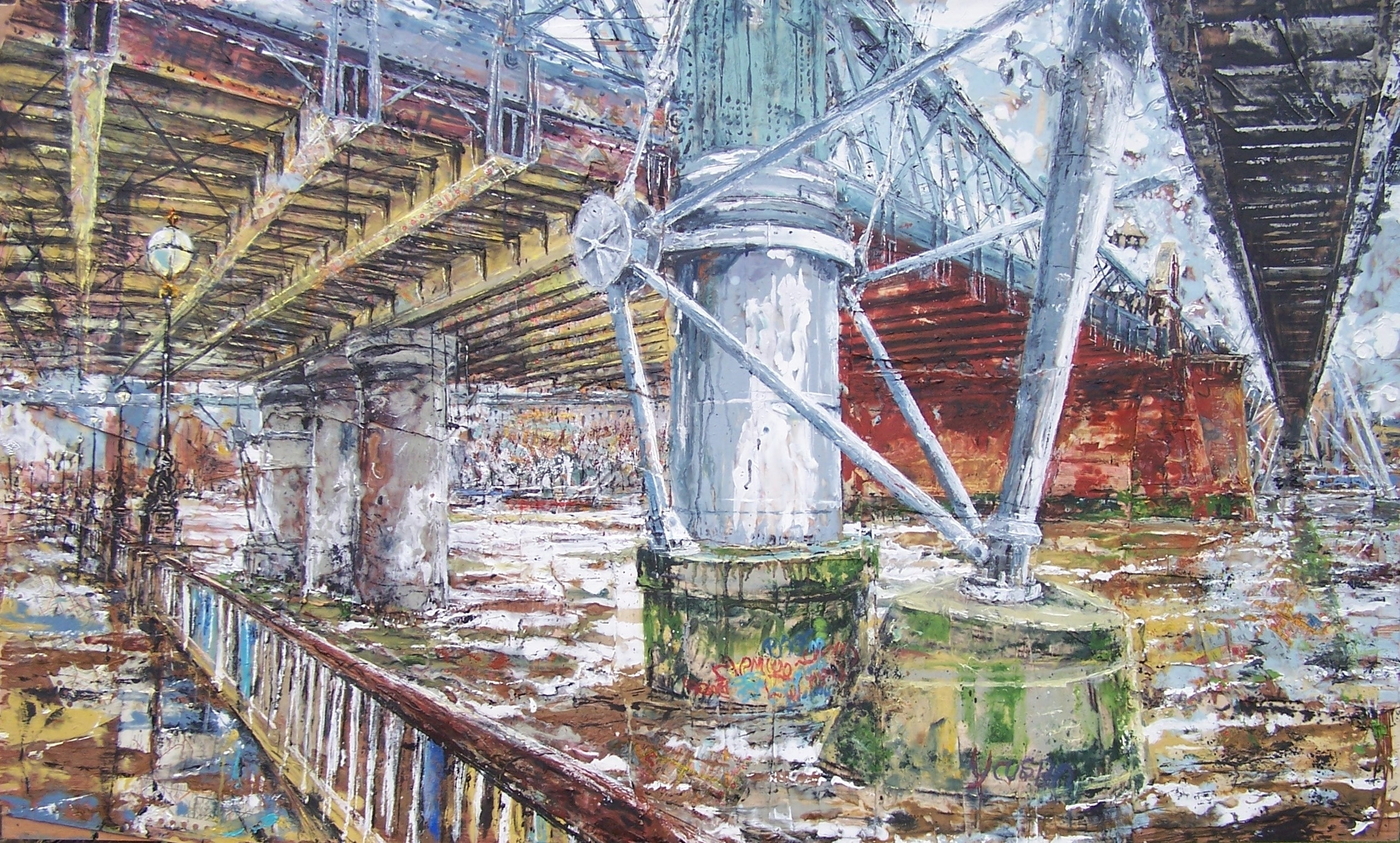 Hungerford Bridge, Thames, Oil paint and collage on wood