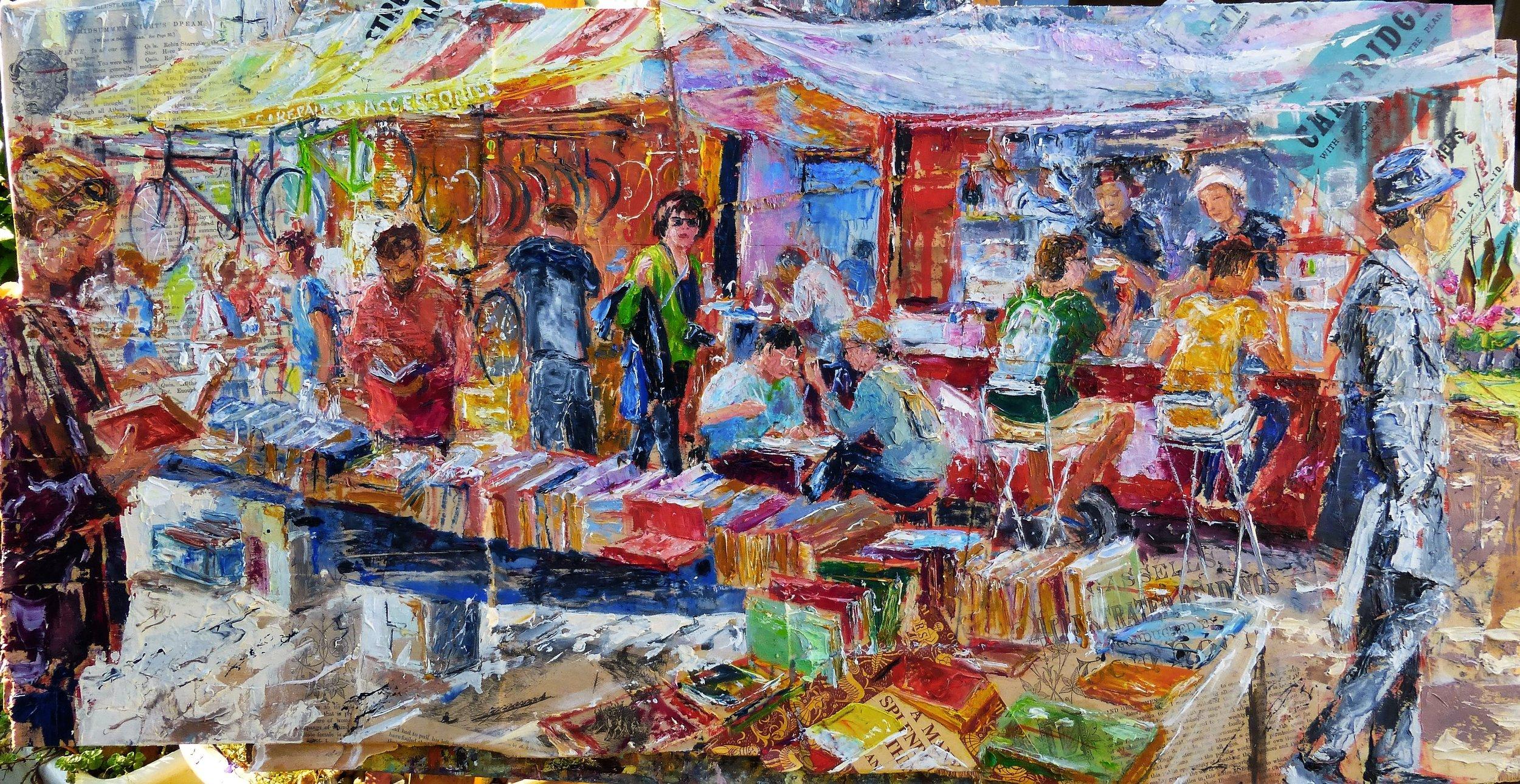 Bikes, books and noodles, Cambridge Market