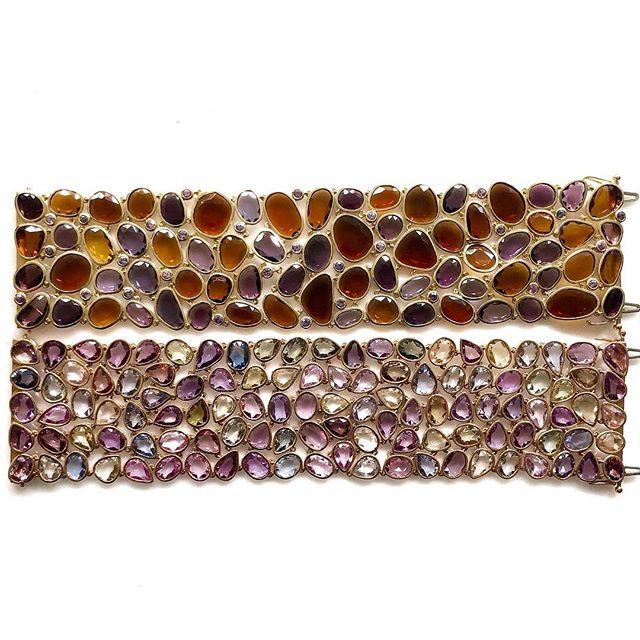 Have you ever seen a more stunning pair of bracelets? 🤩happy Friday! ✨✨✨ #vtsejewelry #sapphires #braceletstacks #braceletstyle