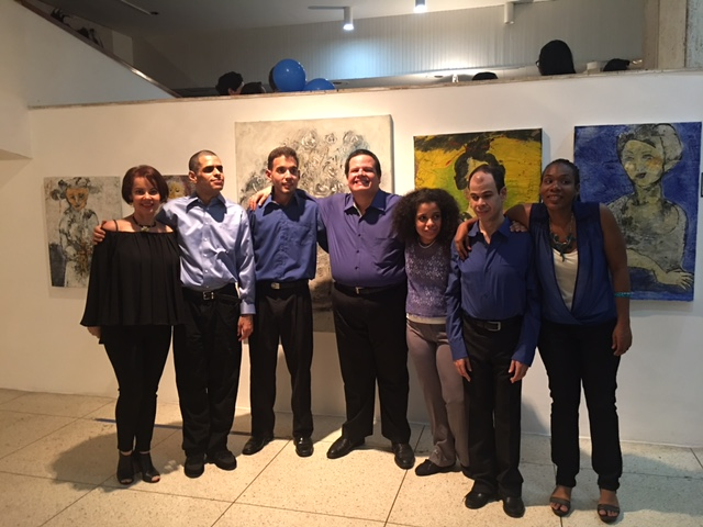 From Left to right, Elida Marroquin, Latin Ladies Foundation of Houston, member, Nerio Rouvier, Agustin Gonzalez, Miguel Quintero, Paula Victoria Avila, Mauricio Matos and Eglis Cano, Fupanaz students and singers.