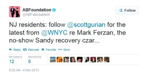 -- Tweet from actor Alec Baldwin to his 1 million followers after hearing      one of my stories      on the radio