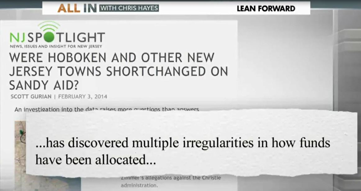 February 3, 2014 mention of my reporting by MSNBC's Chris Hayes and Rachel Maddow