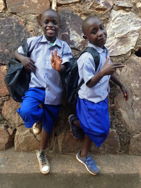 Manzi and Francois before they left for their first day of school