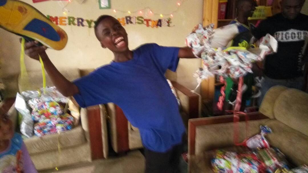 Joel showing his excitement at Christmas
