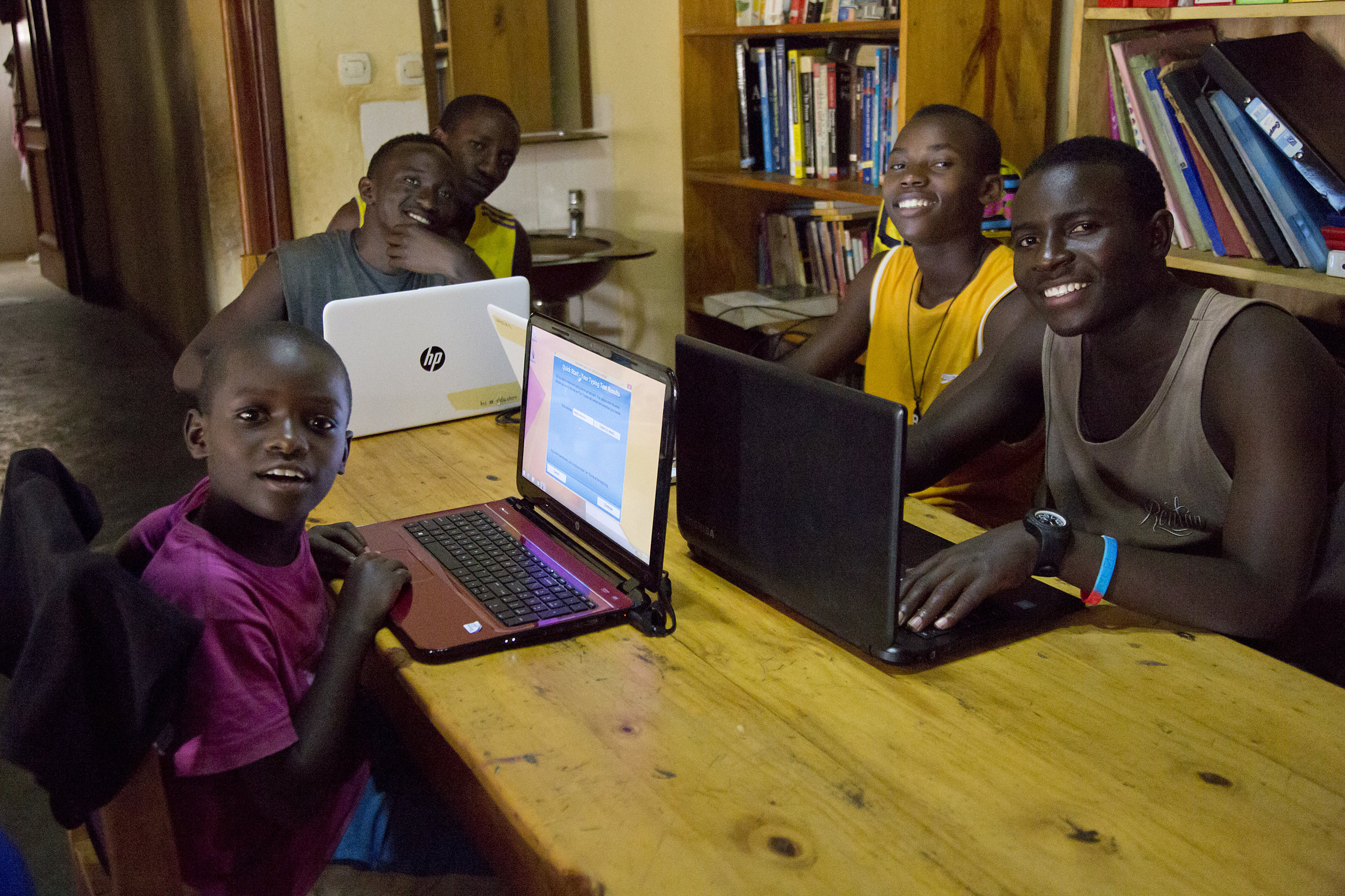 Our kids using new computers donated to us by my sister Lindsay