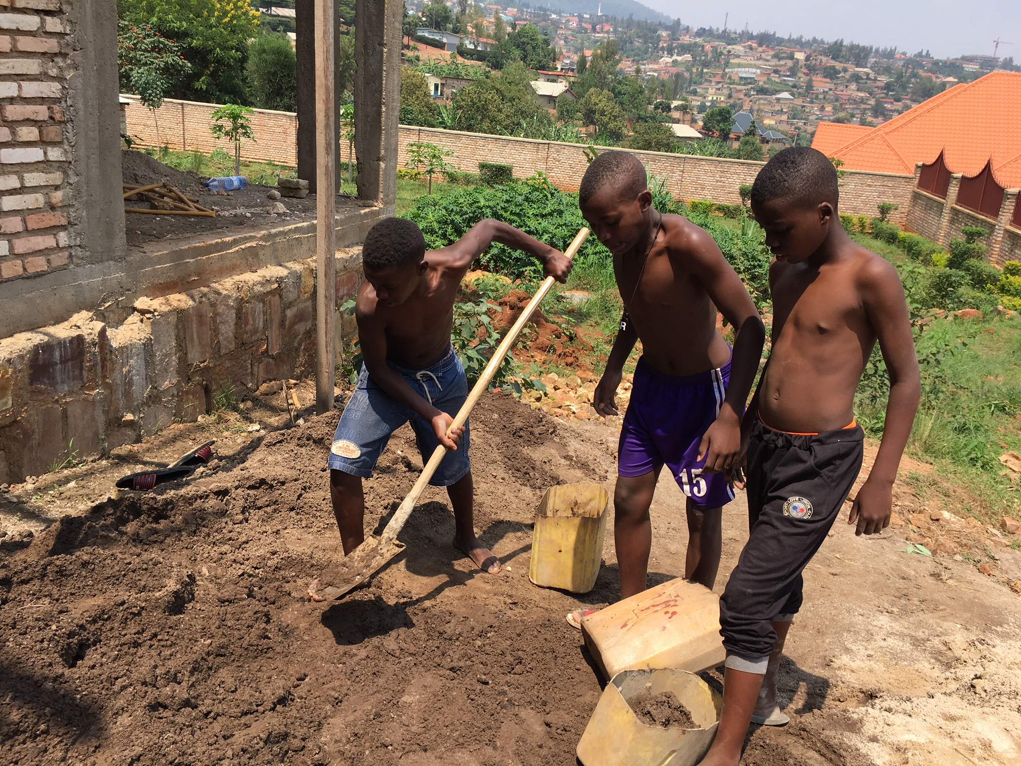 Yves, Ishimwe, and Joel worked really hard this day. It was fun joining them and witnessing how they aren't so little anymore